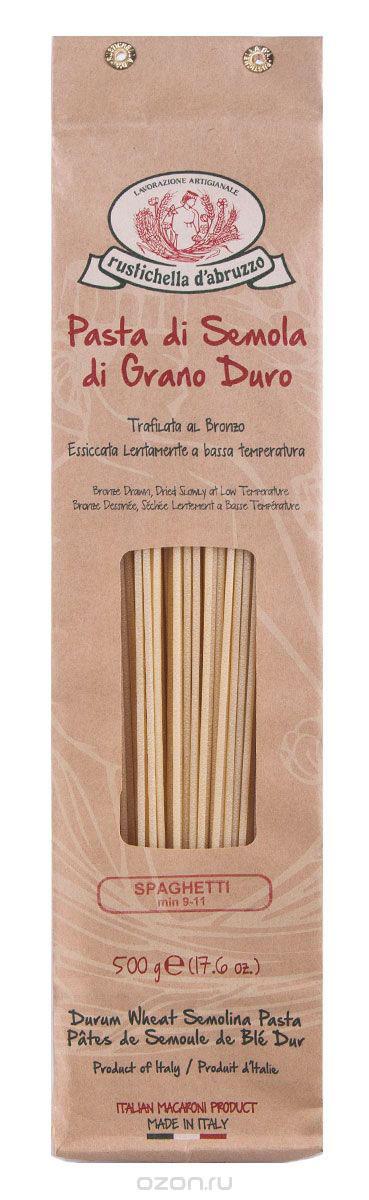 Rustichella паста Спагетти, 500 г88313Спагетти - это один из видов итальянской пасты. Длинные тонкие спицы из пшеничной муки твердых сортов знакомы почти всем. Готовить их быстро и просто, спагетти очень универсальны. Приготовленные при низкой температуре спагетти Rustichella станут лучшим дополнением к любому соусу.