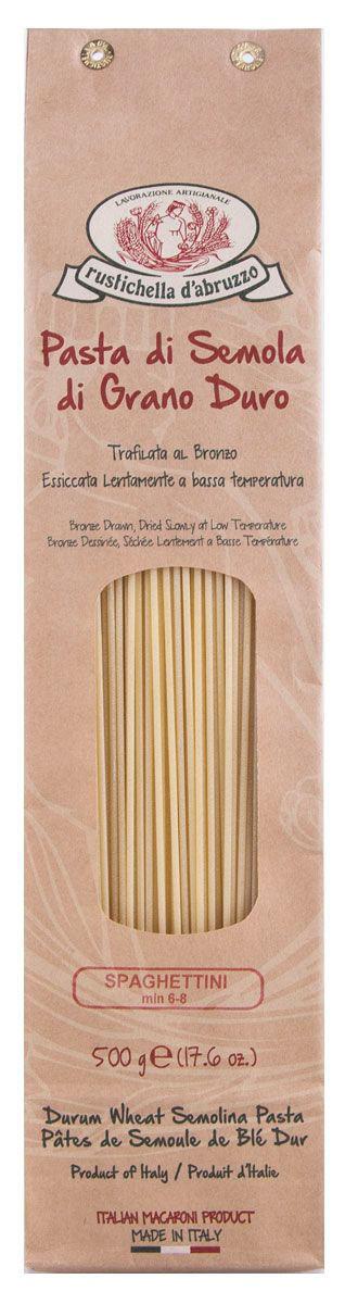 Rustichella паста Спагеттини, 500 г88319Спагеттини- это один из видов итальянской пасты. Длинные тонкие спицы (тоньше спагетти) из пшеничной муки твердых сортов знакомы почти всем. Готовить их быстро и просто, спагетти очень универсальны. Приготовленные при низкой температуре спагетти Rustichella станут лучшим дополнением к любому соусу.