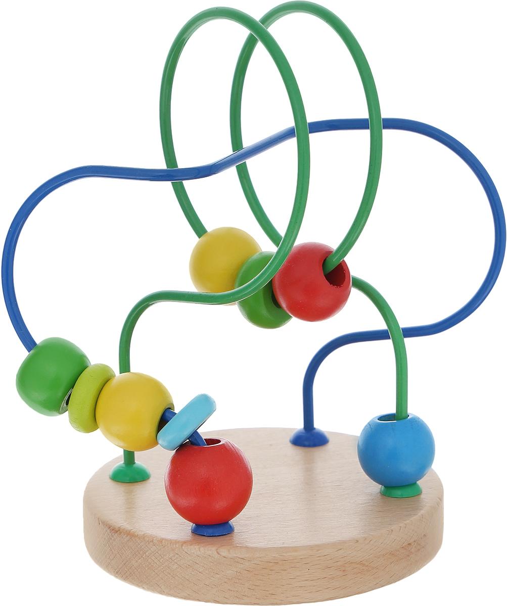 Развивающая игра Лабиринт №7Д195Яркий развивающий лабиринт №7 привлечет внимание вашего малыша и не позволит ему скучать. Лабиринт представляет собой круглую подставку, к которой крепится изогнутая металлическая проволока. На проволоку нанизаны маленькие деревянные элементы разной формы и цвета, которые можно передвигать по проволоке. Игрушка поможет развить логическое мышление, пространственное воображение и мелкую моторику рук малыша. Уважаемые клиенты! Обращаем ваше внимание на ассортимент в дизайне товара. Поставка возможна в одном из вариантов нижеприведенных дизайнов, в зависимости от наличия на складе. Характеристики: Материал: дерево, металл. Размер подставки: 9 см x 1,5 см x 9 см. Высота лабиринта: 12 см. Размер упаковки: 10 см x 14,5 см x 10 см.