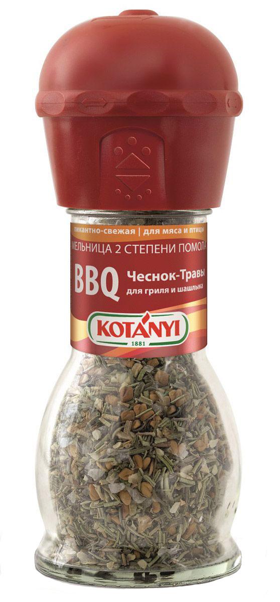 Kotanyi BBQ чеснок-травы приправа для гриля и шашлыка, 40 г416111BBQ чеснок-травы приправа для гриля и шашлыка Kotanyi - пикантно-свежая приправа для мяса и птицы. Мельница имеет две степени помола.