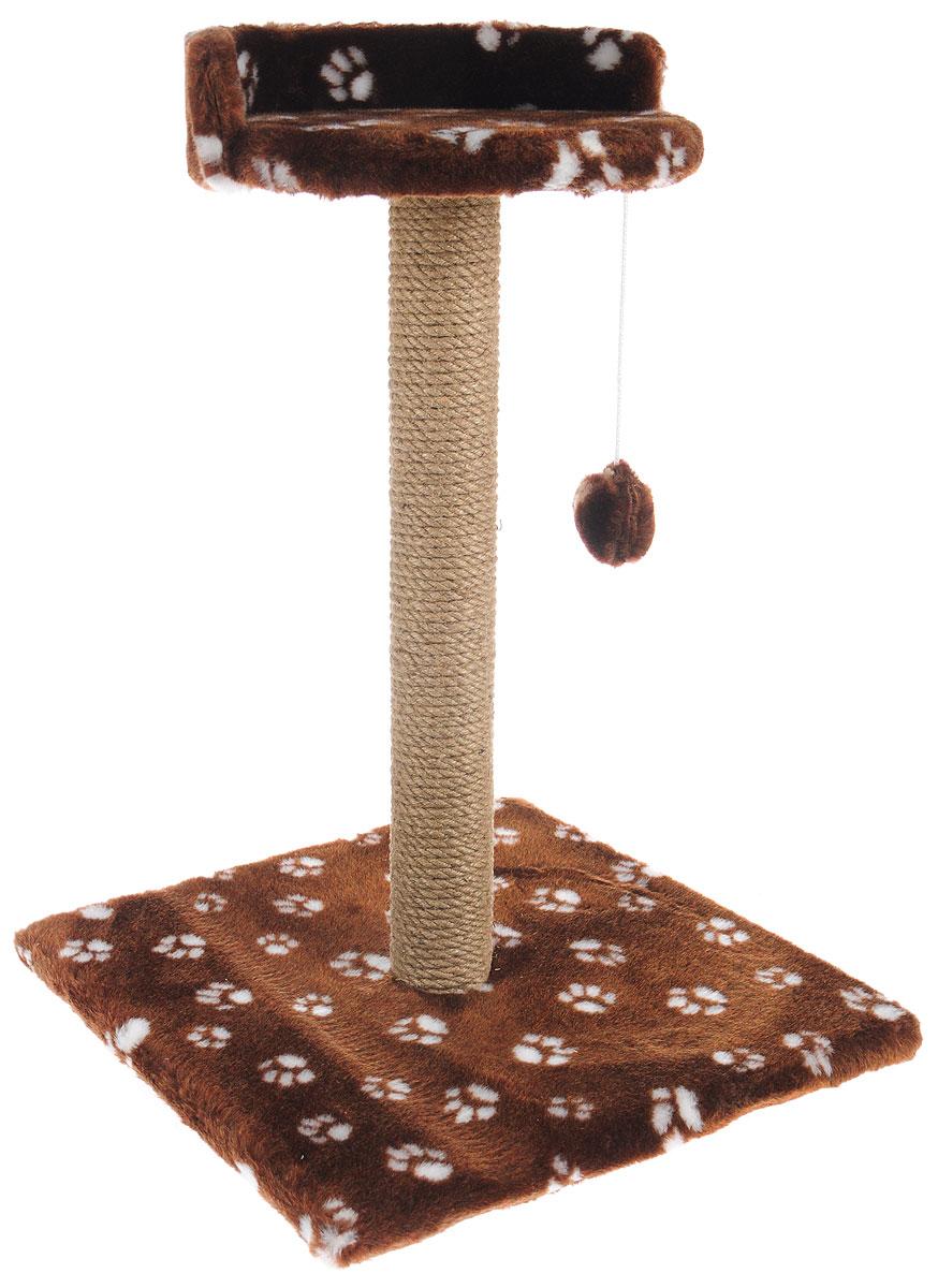 Когтеточка Меридиан Арена, цвет: темно-коричневый, бежевый, 40 х 40 х 59 смК515Ла_коричневыйКогтеточка Меридиан Арена поможет сохранить мебель и ковры в доме от когтей вашего любимца, стремящегося удовлетворить свою естественную потребность точить когти. Когтеточка изготовлена из ДСП, искусственного меха и джута. Товар продуман в мельчайших деталях и, несомненно, понравится вашей кошке. Подвесная игрушка привлечет внимание питомца. Сверху имеется полка с бортом, на которой кошка сможет отдохнуть. Всем кошкам необходимо стачивать когти. Когтеточка - один из самых необходимых аксессуаров для кошки. Для приучения к когтеточке можно натереть ее сухой валерьянкой или кошачьей мятой. Когтеточка поможет вашему любимцу стачивать когти и при этом не портить вашу мебель. Размер основания: 40 х 40 см. Высота когтеточки: 59 см. Диаметр полки: 28 см.