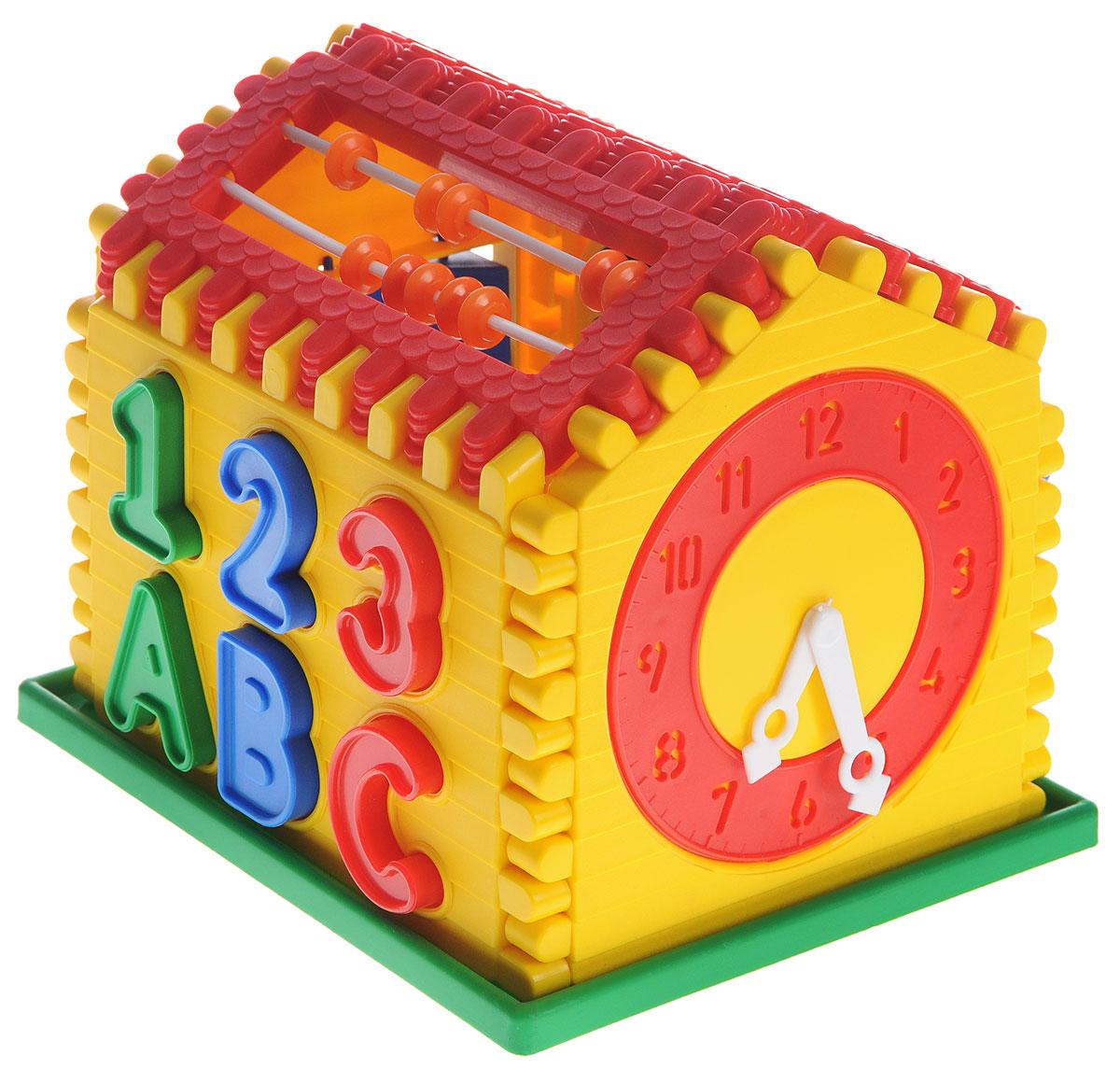 Волшебный городок Сортер Логический домЛДИгрушка-сортер Волшебный городок Логический дом сочетает в себе увлекательное обучение и настоящее веселье. Игрушка состоит из закрытого контейнера в форме домика, а в нем - прорези разной формы. В прорези нужно вставлять разные геометрические фигуры, цифры и буквы. Крыша домика выполнена в виде счет. С одного торца домика имеются часы с подвижными стрелками, с другого - треугольники, которые можно крутить. Сортер это незаменимая игрушка для всех малышей, которые уже активно познают мир и готовы начать изучение форм и цветов. В процессе такой игры малыш начнет развивать логическое и пространственное мышление, познакомится с понятием формы предмета и понятием соответствия предметов одного другому.