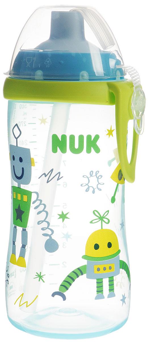 NUK Бутылочка-поильник Flexi Cup с трубочкой от 18 месяцев цвет голубой 300 мл10750601_летающая тарелкаБутылочка-поильник NUK Flexi Cup разработана специально для малышей от 18 месяцев для легкого перехода от груди к бутылочке, а от бутылочки к самостоятельному питью. Бутылочка-поильник выполнена из полипропилена без содержания бисфенола А. Эластичная силиконовая трубочка для питья исключает протекание, а за счет герметичного специального клапана в трубочке не остается жидкости. Благодаря ультра-легкому эргономичному дизайну бутылочку-поильник удобно держать как взрослому, так и ребенку, а пластиковая клипса позволит легко и надежно прикрепить бутылочку к коляске, сумке или одежде. Красочное изображение на бутылочке привлечет внимание крохи и подарит радость и яркие впечатления. Трубочки не подходят для детей младше 6 месяцев.