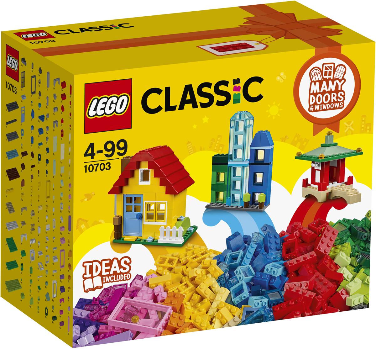 LEGO Classic Конструктор Набор для творческого конструирования 1070310703Открой бесконечный мир весёлых и креативных игр с набором из серии LEGO Classic, в который входят двери, окна, кубики и специальные элементы ярких цветов. Собирай симпатичные домики, интересные магазины, уютные кафе, пагоды в восточном стиле, волшебные замки и многое другое. Идеи для вдохновения можно найти в прилагаемом буклете или в Интернете. Придумывай, собирай и играй с наборами LEGO Classic!