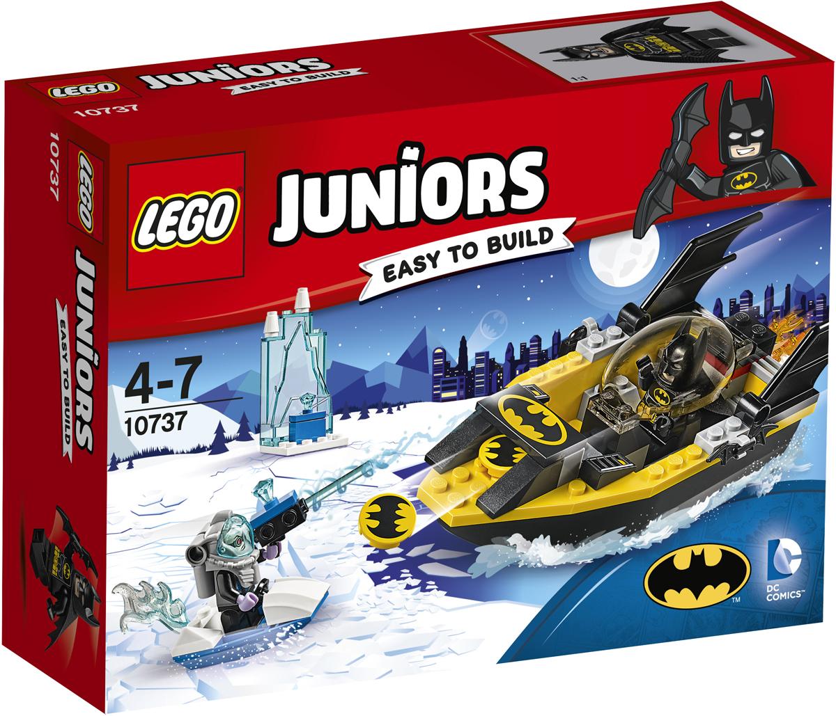 LEGO Juniors Конструктор Бэтмен против Мистера Фриза 1073710737Сядь в мощный Бэткатер и помоги Бэтмену защитить Готэм-сити от Мистера Фриза! Подготовь бэт-диски и целься в скоростной ледяной автомобиль. Но берегись! Если мистер Фриз выстрелит из своего замораживающего ружья, а Бэтмен попадётся в его ледяную ловушку, Готэм-сити будет заморожен!