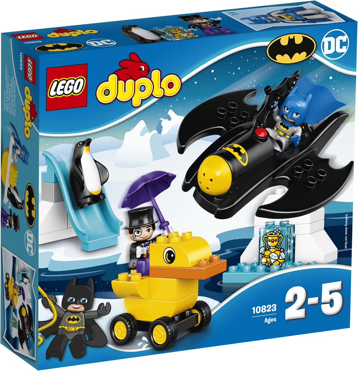 LEGO DUPLO Конструктор Приключения на Бэтмолете 1082310823Вашему ребёнку понравится собирать этот весёлый игровой набор «Приключения на бэтмолёте» от LEGO DUPLO и помогать Бэтмену™ в поисках украденного сокровища. Ваш маленький супергерой найдёт, с чем поиграть в этом наборе: начните историю с запуска пушки Бэтмолёта, затем столкните Пингвина вниз по склону, чтобы не дать ему сбежать на своей лодке в виде утки. В набор входит две фигурки DUPLO.