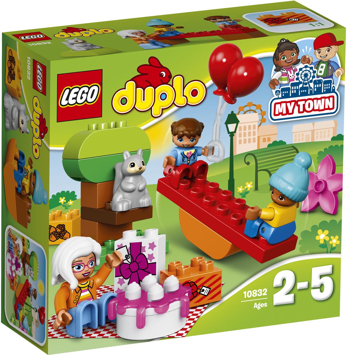 LEGO DUPLO Конструктор День рождения 1083210832Разыгрывайте реальные сценарии из жизни с помощью LEGO DUPLO: создавайте узнаваемый мир с новыми фигурками DUPLO. Маленьким детям понравится играть с шариками и устраивать в парке пикник по случаю дня рождения вместе с бабушкой. Покачайтесь на качелях, соберите дерево и расстелите под ним одеяло. Вот идеальное место для пикника! В набор входят три мини-фигурки DUPLO и фигурка белки. Набор включает в себя 19 разноцветных пластиковых элементов. Конструктор - это один из самых увлекательных и веселых способов времяпрепровождения. Ребенок сможет часами играть с конструктором, придумывая различные ситуации и истории.
