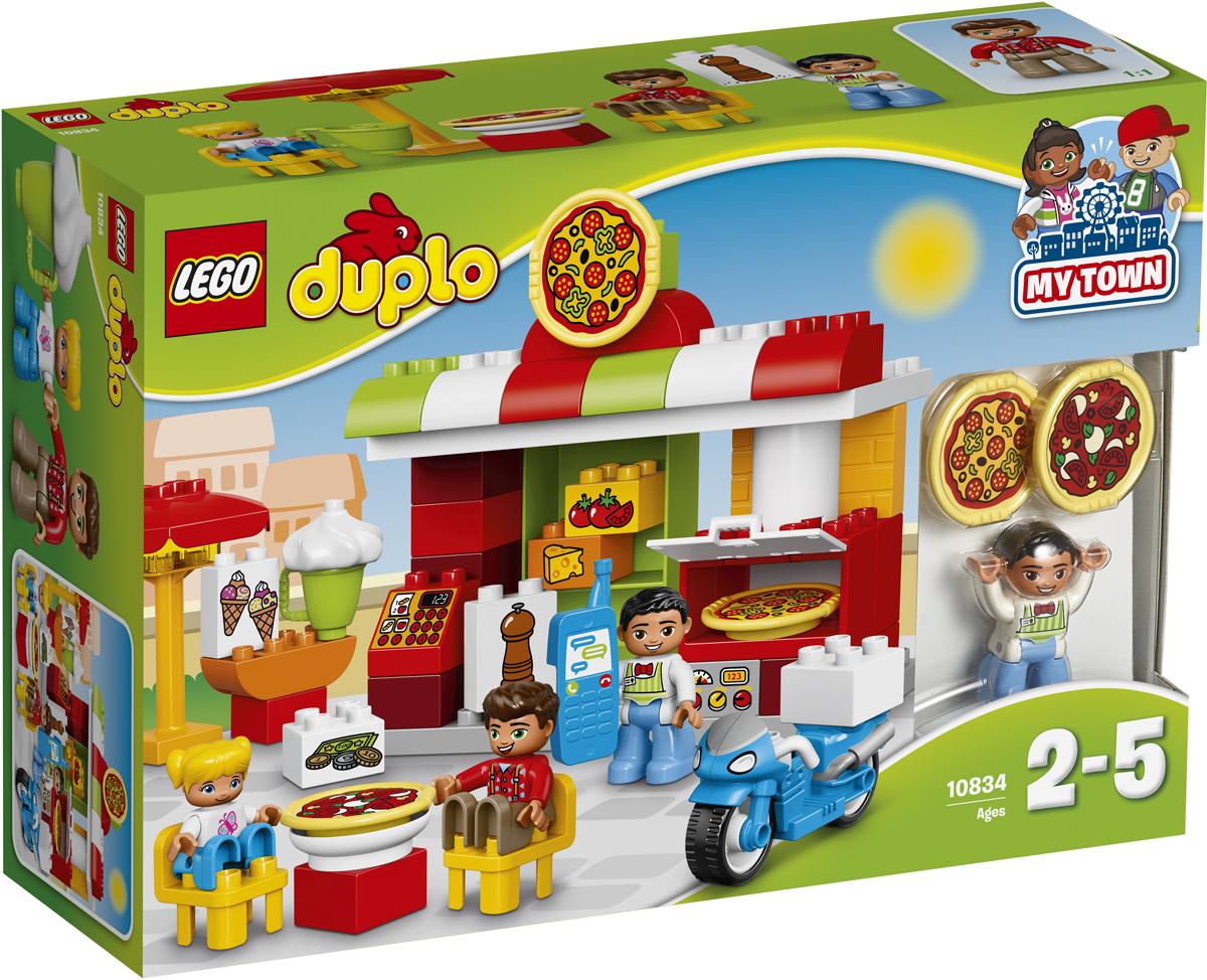LEGO DUPLO Конструктор Пиццерия 1083410834Разыгрывайте реальные сценарии из жизни с помощью LEGO DUPLO: создавайте узнаваемый мир с новыми фигурками DUPLO. Малышам понравится подавать вкусную пиццу прямо из духовки этого красочно оформленного ресторана и попутно узнавать, как нужно себя вести в общественных местах. Они смогут принимать заказы по телефону и развозить их на велосипеде. В набор входят три минифигурки DUPLO.