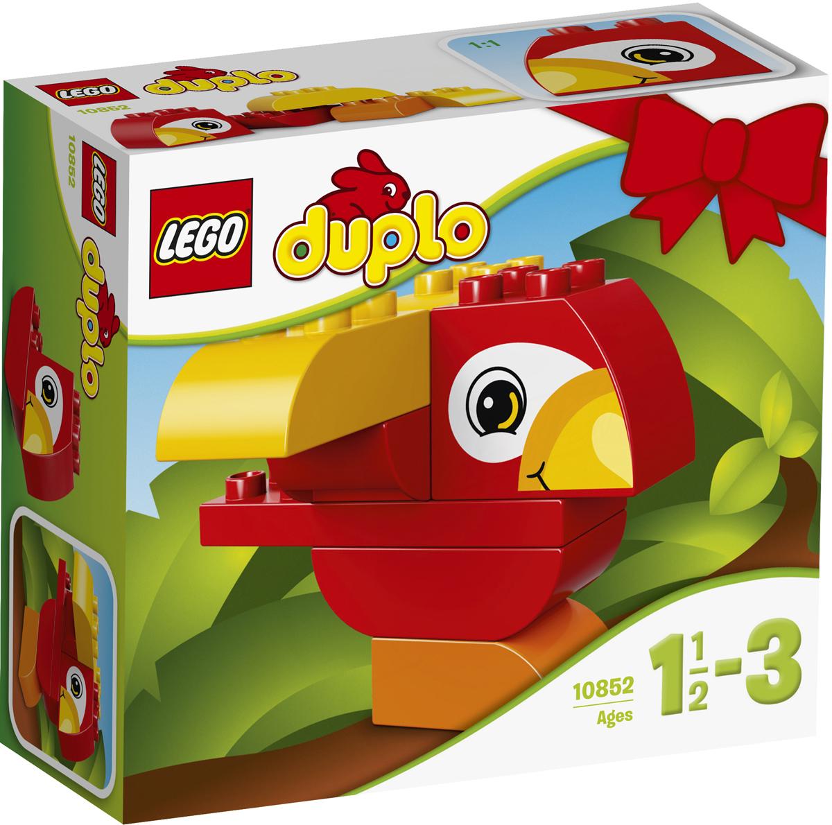 LEGO DUPLO Конструктор Моя первая птичка 1085210852Вашему малышу понравится летать с этим милым попугаем LEGO DUPLO! Легкий в сборке набор помогает на раннем этапе развивать в игровой форме навыки конструирования и мелкую моторику. Дайте толчок воображению малыша: по-разному комбинируйте кубики, чтобы собрать самых разных птиц. Крупные кубики LEGO DUPLO специально сконструированы так, чтобы они были безопасны и удобны для маленьких ручек. Набор включает в себя 7 разноцветных пластиковых элементов. Конструктор станет замечательным сюрпризом вашему ребенку, который будет способствовать развитию мелкой моторики рук, внимательности, усидчивости и мышления. Играя с конструктором, ребенок научится собирать детали по образцу, проводить время с пользой и удовольствием.