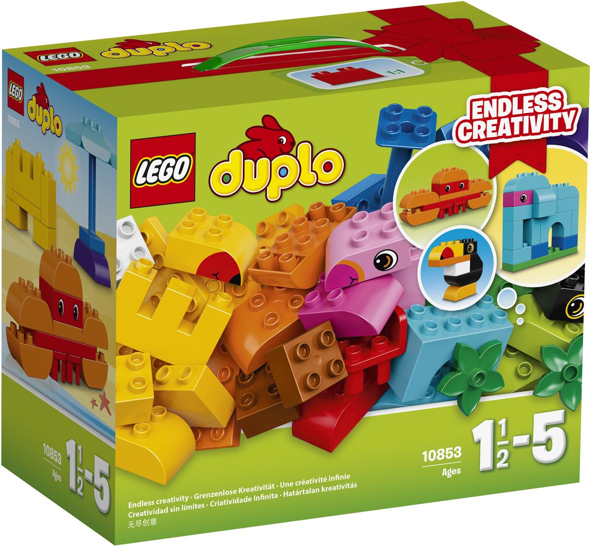 LEGO DUPLO Конструктор Набор деталей для творческого конструирования 1085310853Любознательным непоседам понравится создавать из огромного числа ярких кубиков LEGO DUPLO модели на тропическую тему: слона, ананас, песочный замок или краба. Универсальный набор позволяет собирать множество экзотических животных и развивать моторику и навыки конструирования, используя в качестве источника вдохновения карточки по сборке. Крупные кубики LEGO DUPLO специально сконструированы так, чтобы они были безопасны и удобны для маленьких ручек. Набор включает в себя 75 разноцветных пластиковых элементов. Конструктор станет замечательным сюрпризом вашему ребенку, который будет способствовать развитию мелкой моторики рук, внимательности, усидчивости и мышления. Играя с конструктором, ребенок научится собирать детали по образцу, проводить время с пользой и удовольствием.
