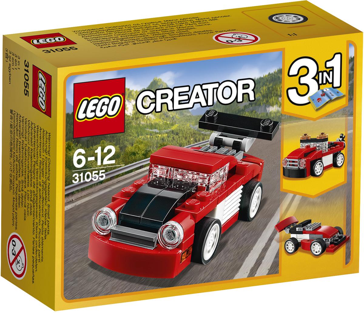 LEGO Creator Конструктор Красная гоночная машина 3105531055Прокатись с ветерком в этом крутом спортивном автомобиле, двигатель которого установлен сзади, с большим задним спойлером и круглыми передними фарами, который выкрашен в спортивные цвета — красный, белый и чёрный. Отрегулируй спойлер для повышения тяги и ещё большего ускорения! Если тебе захочется что-нибудь изменить, преврати свой автомобиль в Буксировщик или Гоночный автомобиль.