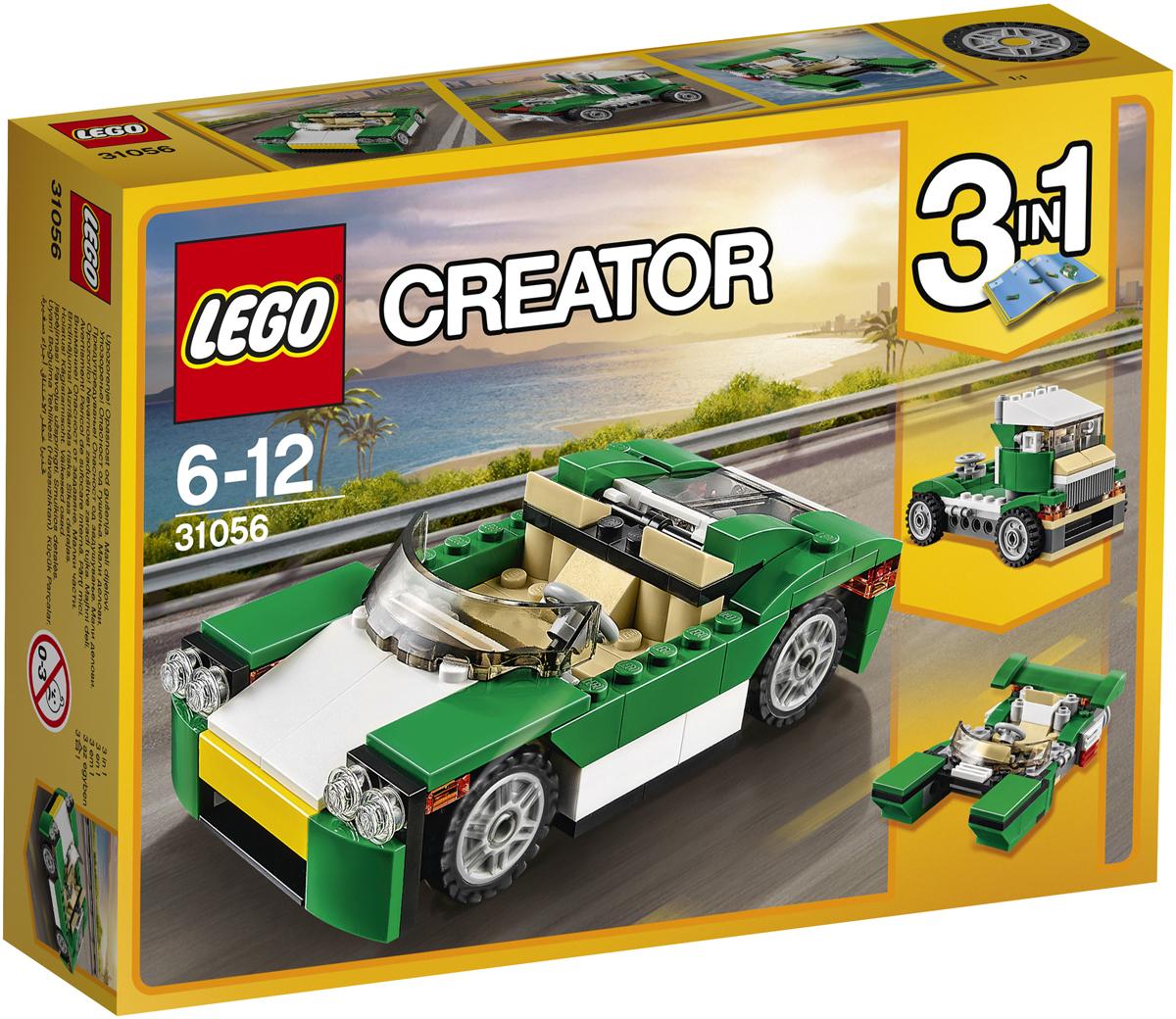 LEGO Creator Конструктор Зеленый кабриолет 3105631056Наслаждайся тёплыми солнечными лучами, катаясь по городу в элегантном Зелёном кабриолете с откидным верхом, притягивающем взгляды своей яркой зелёной, белой, жёлтой и чёрной цветовой гаммой, тонированным лобовым стеклом и просторной кабиной, рассчитанной на две минифигурки, с реалистичной приборной панелью и рулём. Подними крышку переднего багажника, чтобы воспользоваться багажным отсеком, или открой прозрачный задний капот, под которым находится двигатель. Кабриолет можно превратить в Скоростную лодку или Скоростной грузовик.