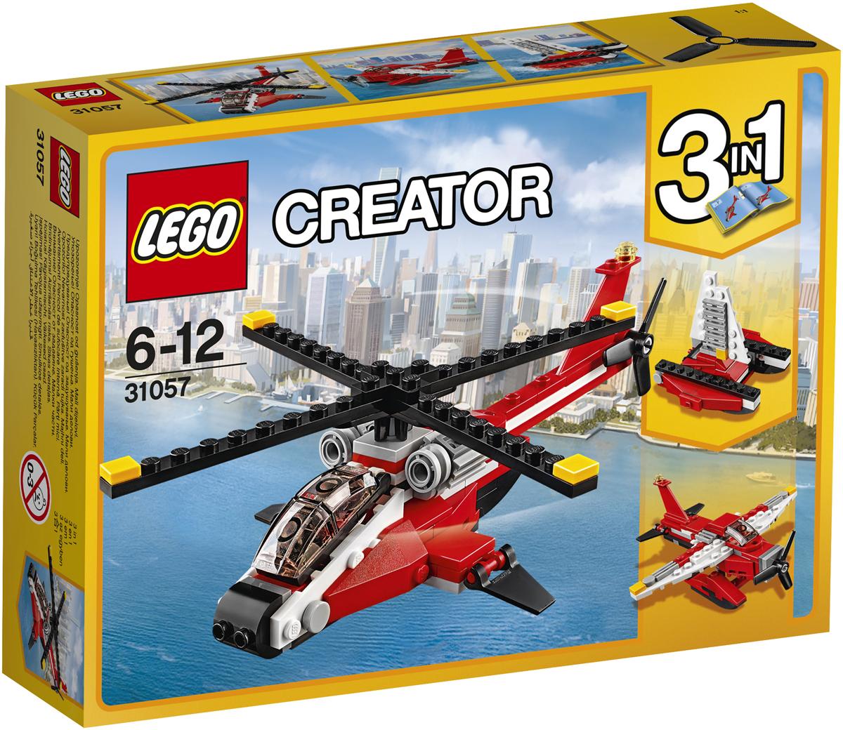 LEGO Creator Конструктор Красный вертолет 3105731057Выполняй самые смелые миссии на этом удивительном Красном вертолёте высокотехнологичной изящной конструкции с тонированной кабиной, большими двигателями, задними посадочными прожекторами в суперкрутой красно-чёрной цветовой гамме. Взмывай в небеса с помощью массивного основного и хвостового винтов! Перестрой его в классический Гидросамолёт или скоростной Катамаран.