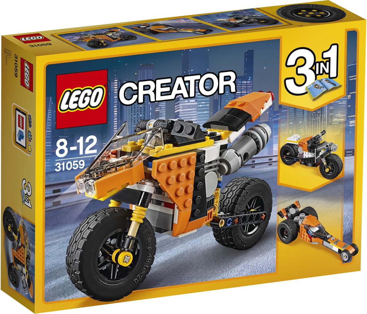 LEGO Creator Конструктор Оранжевый мотоцикл 3105931059Прокатись на удивительном Оранжевом уличном мотоцикле 3 в 1, выполненном в апельсиновой гамме с деталями чёрного и белого цвета, с реалистичным двигателем, экстра-широкими резиновыми шинами с высоко установленными брызговиками, действующей пружинной подвеской и узнаваемым спортивным дизайном. Посмотри, как точно выполнена выхлопная труба, лобовое стекло и руль. Скорее запрыгивай на него и в путь! Трансформируется в Шоссейный велосипед или Драгстер!
