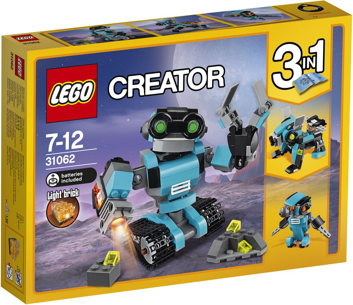 LEGO Creator Конструктор Робот-исследователь 3106231062Знакомься с дружелюбным Роботом-исследователем. У него большая голова и большие зелёные глаза. Робот выполнен в красивой светло-голубой, чёрной и серой гамме. Ты можешь менять положение его рук, поворачивать голову и тело, и передвигать его при помощи колёс. В его правой руке установлен специальный прожектор, а второй рукой он может хватать и переносить предметы! Модель трансформируется в Собаку-робота со светящимся реактивным ранцем или Птицу-робота со светящимися глазами!