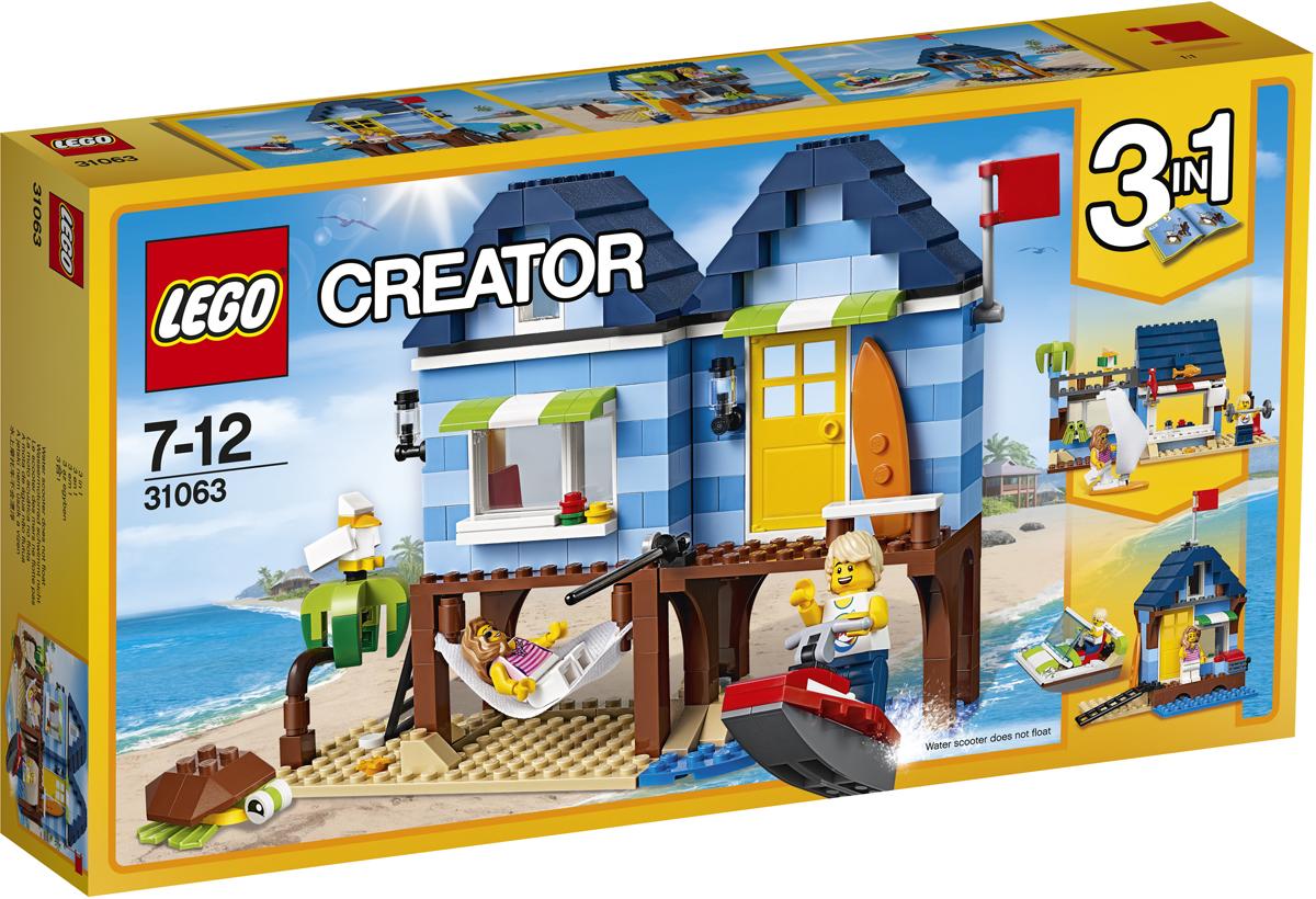 LEGO Creator Конструктор Отпуск у моря 3106331063Создай свой собственный уголок для летнего отдыха: построй уютный пляжный домик, выкрашенный в синюю полоску с красным креслом, аквариумом и потолочным вентилятором. Включи радио и отдохни, покачиваясь в удобном гамаке. Организуй место для рыбалки, прокатись на водном скутере, а после обеда отправляйся кататься на сёрфе или просто отдохни в тени пальмы в компании с морской черепахой! Если тебе захочется перемен, набор можно перестроить в Магазинчик у моря или Лодочную станцию в бухте.