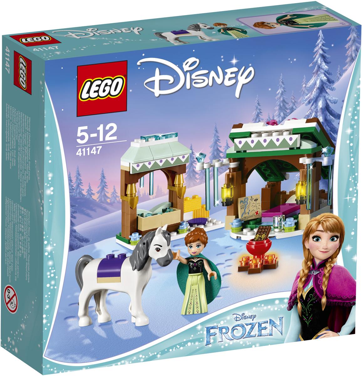LEGO Disney Princesses Конструктор Зимние приключения Анны 4114741147Анна и её конь останавливаются на отдых по дороге на Северную гору. Отведи коня в стойло и покорми, а потом усади Анну к огню и приготовь горячий шоколад, чтобы помочь ей согреться. Перед тем как отправиться спать в уютный домик, вместе с Анной изучи карту. Хорошо выспавшись, Анна продолжит путь, чтобы навестить свою сестру.