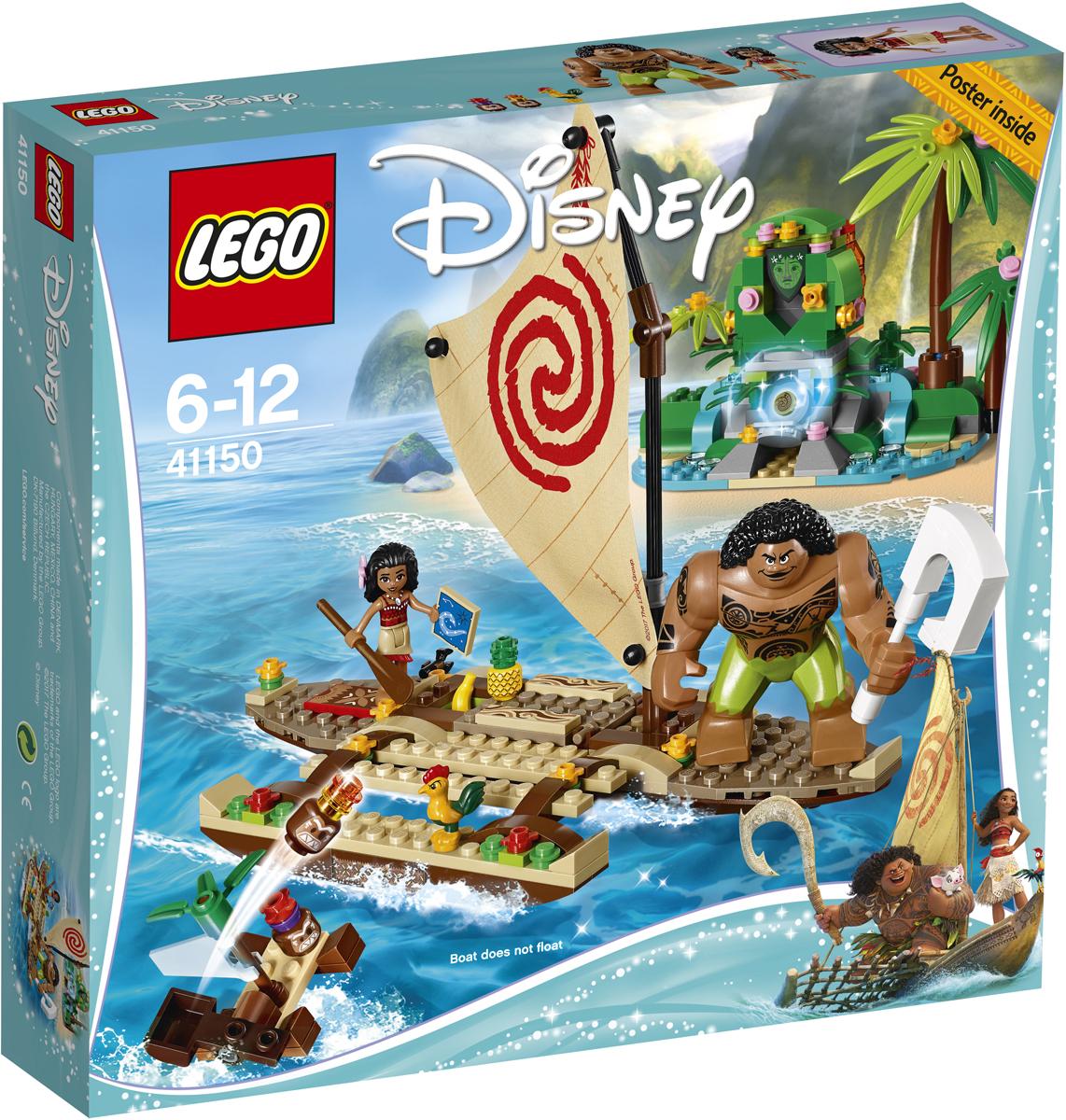 LEGO Disney Princesses Конструктор Путешествие Моаны через океан 4115041150Отправляйся в плаванье на лодке вместе с Моаной, её другом, полубогом Мауи, и петушком Хейхей. А пока вы неспешно плывёте по течению, ты можешь изучить карту звёздного неба и подкрепиться вкусными фруктами. Берегись подлой Какаморы, которая попытается украсть у Моаны сердце Те Фити! Пройди все испытания и помоги превратить остров в безмятежное и зелёное райское место