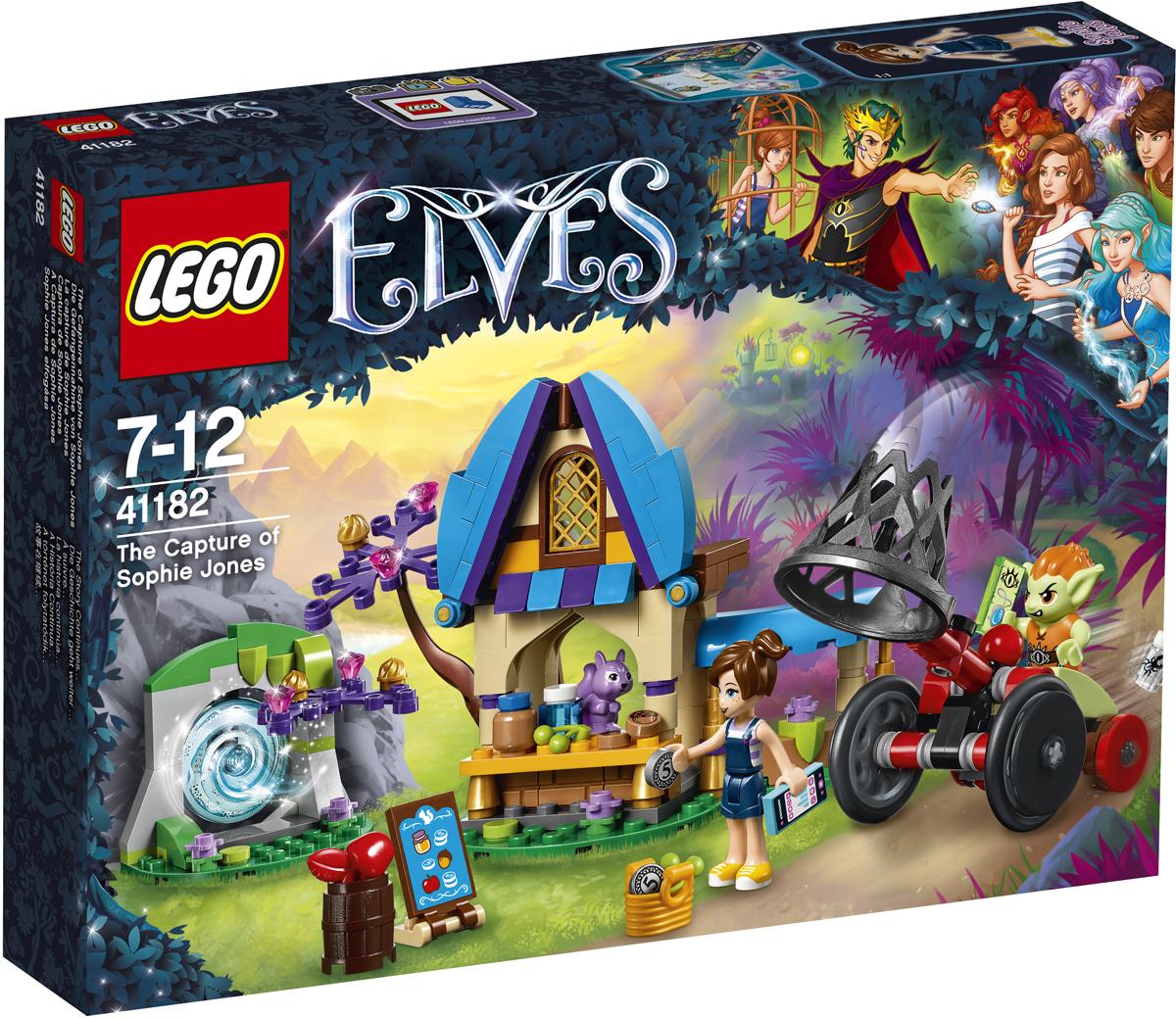 LEGO Elves Конструктор Похищение Софи Джонс 4118241182Прокрадись сквозь магический портал с маленькой сестрёнкой Эмили Джонс, Софи, и отправляйся навстречу новым приключениям. Зайди в овощной магазин мистера Спая, где сейчас в самом разгаре сезон скидок. Но будь внимательна: за Софи по пятам идёт злобный гоблин. Осторожно! Гоблин Барблин принял Софи за Эмили и спешит к ней на своём автомобиле-перехватчике. Сможет ли он схватить Софи и отвезти к Королю Гоблинов? Решать тебе!