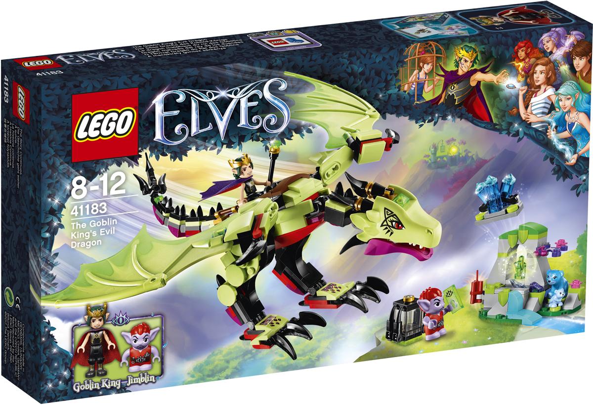LEGO Elves Конструктор Дракон Короля Гоблинов 4118341183На спине дракона Пеплокрыла, который управляется силой мысли, взмывай в небо вместе с Королём Гоблинов, отправившимся на охоту за кристаллами для укрепления своего портала! Поймай медведицу Блубери, которая вместе с Малышом Блу нашла пустую пещеру, в когти дракона, а потом скомандуй, чтобы гоблин Джимблин взорвал часть пещеры при помощи динамита. Там ты обнаружишь необыкновенный кристалл. Положи кристалл в клетку на спине Пеплокрыла и лети обратно в крепость Короля Гоблинов!