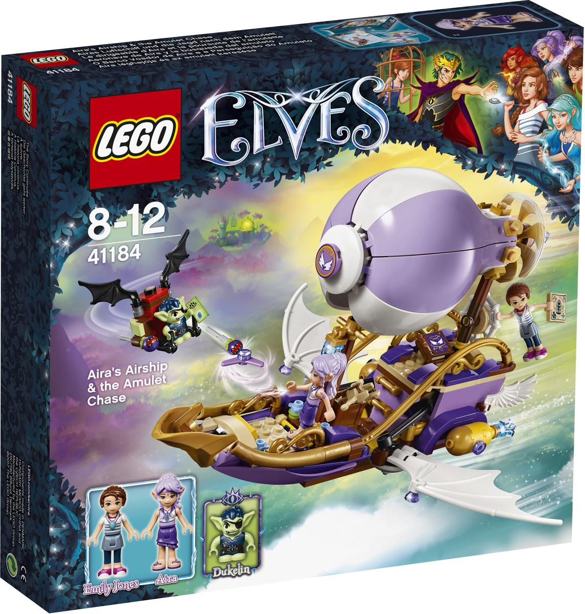LEGO Elves Конструктор Погоня за амулетом 4118441184Устрой дерзкую погоню в Эльфендейле! Гоблин Дюклин выследил Эмили Джонс, которая путешествует на воздушном корабле Эйры, и спешит за ней на гоблинском планере. О нет, Дюклин украл амулет Эмили и поспешно убегает! Используй магию ветра, которой владеет Эйра, чтобы перевести воздушный корабль в супербыстрый режим полёта и схватить гоблина до того, как он успеет передать амулет Королю Гоблинов!