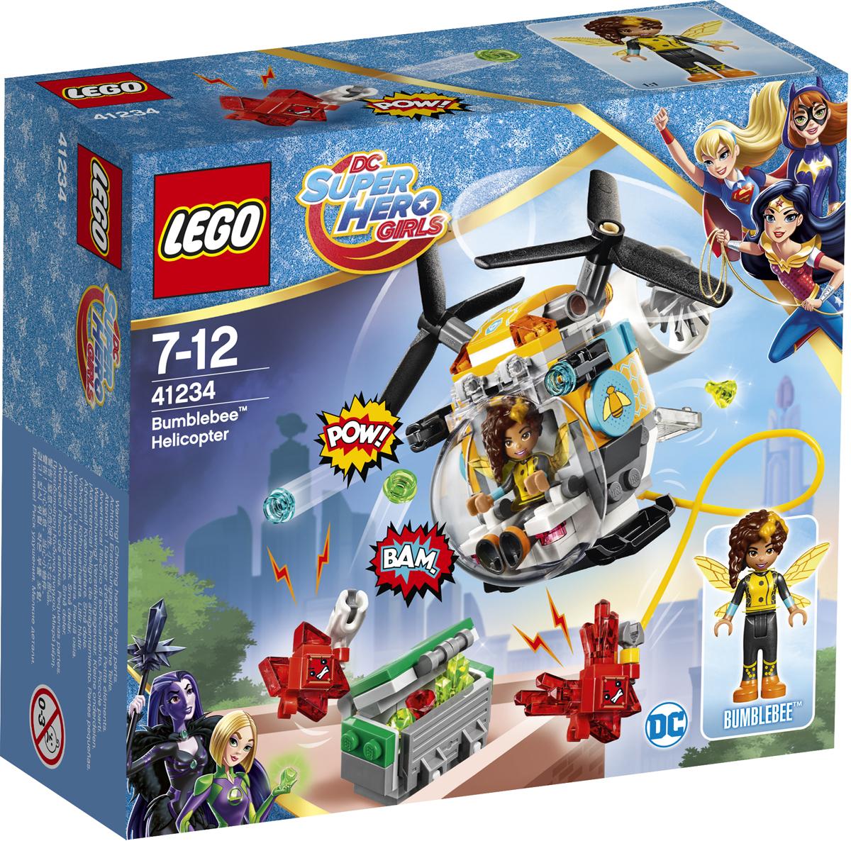 LEGO DC Super Hero Girls Конструктор Вертолет Бамблби 4123441234Осторожно! Злые красные Криптомиты хотят украсть кристаллы, чтобы создать новых монстров! Помоги Бамблби сбросить их с вертолета, прежде чем они доберутся до грузового отсека. Стреляй из шипомётов! Обезвредь маленьких злодеев и защити кристаллы!