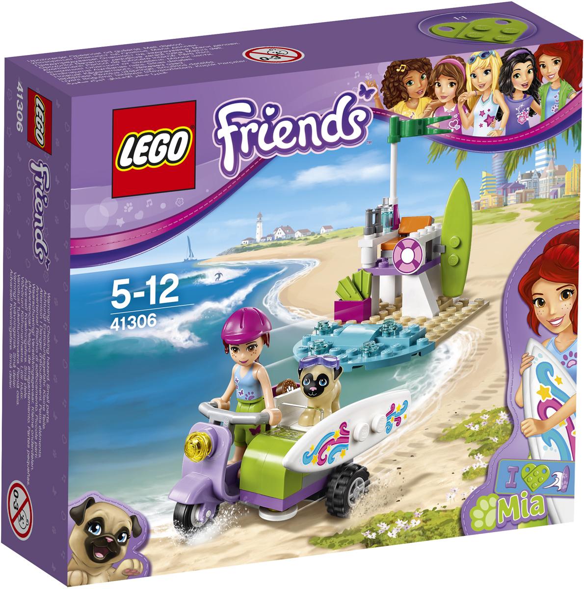 LEGO Friends Конструктор Пляжный скутер Мии 4130641306Мия направляется на пляж, чтобы заняться сёрфингом. И, конечно, она возьмёт с собой своего мопса Тоффи! Посади Мию на классный сиреневый скутер и проверь, безопасно ли Тоффи устроился на боковом сиденье. Ему нравится поездка! Ты знала, что Тоффи тоже отличный серфингист? Поставь Мию и Тоффи на доски, чтобы они катались на волнах, а потом Мия может расположиться в шезлонге со стаканом лимонада и любоваться невероятными трюками Тоффи.