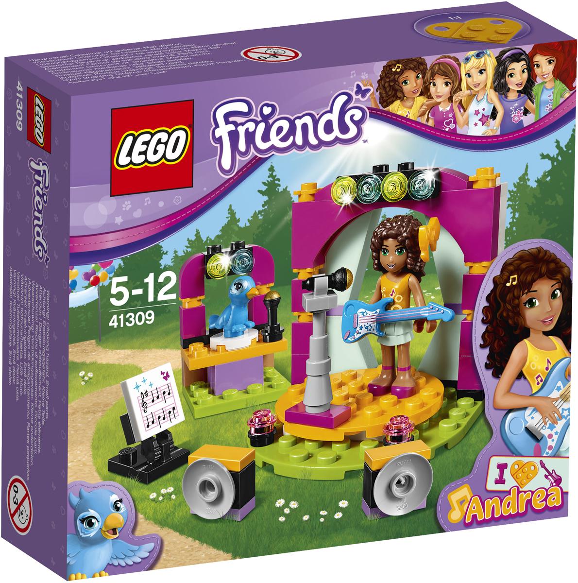 LEGO Friends Конструктор Музыкальный дуэт Андреа 4130941309Учись пению и актёрскому мастерству вместе с Андреа! Она прирождённая певица, а её попугай Клео обожает петь с ней хором! Помоги Андреа, которая играет на электрогитаре, выучить ноты, а когда она будет идеально готова к выступлению, пой вместе с ней и Клео и поворачивай вертящуюся сцену и стойку с попугаем, чтобы сделать концерт ещё зрелищнее.