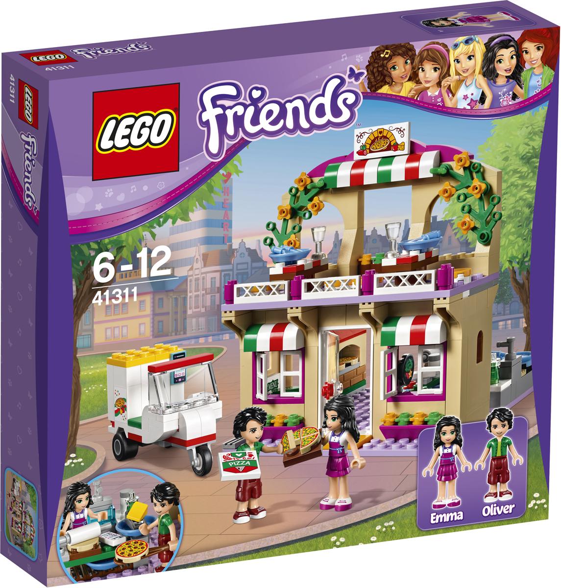 LEGO Friends Конструктор Пиццерия 4131141311Вместе с Эммой и Оливером приготовьте и подайте самую вкусную и свежую пиццу в популярной Пиццерии Хартлейк Сити. Выполни все заказы посетителей, и положи пиццу в духовку на лопатке. Потом отнеси пиццы наверх и подай гостям кафе на романтическом балконе ресторана. У Оливера есть заказы на доставку, поэтому прыгай на скутер и развози пиццу по всему Хартлейк Сити.