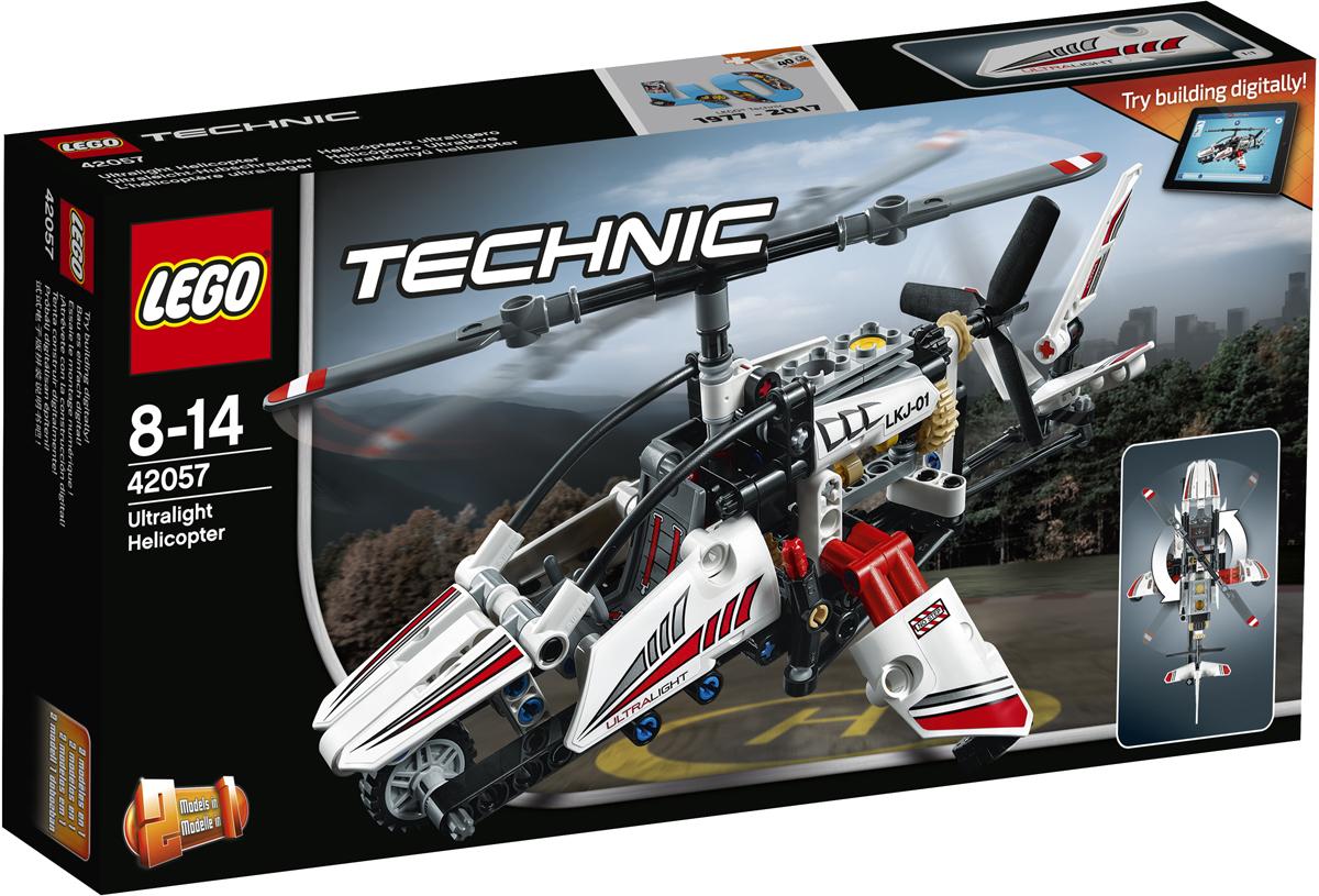LEGO Technic Конструктор Сверхлегкий вертолет 4205742057Забирайся в открытую кабину высокотехнологичного, потрясающего сверхлёгкого вертолёта, выполненного в бело-красно-чёрной гамме и украшенного классными наклейками. С помощью джойстика управляй хвостовым рулем, крути зубчатое колесо, и увидишь, как заработают главный винт, хвостовой винт и пружина двигателя. Эта модель LEGO Technic 2-в-1 может быть перестроена в экспериментальный самолёт! Интерактивное интернет-приложение с цифровыми 3D-инструкциями по сборке LEGO для обеих моделей доступно онлайн!