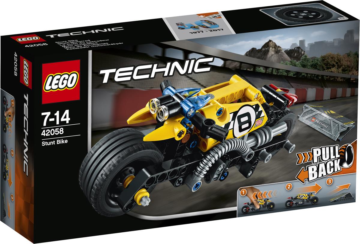 LEGO Technic Конструктор Мотоцикл для трюков 4205842058Приготовься к лучшей поездке в своей жизни на потрясающем трюковом мотоцикле LEGO Technic, выполненном в яркой жёлто-чёрной гамме с клетчатыми гоночными наклейками и оснащённом передними и задними фарами, классными выхлопными трубами, суперширокими дисками и низкопрофильными шинами для лучшего сцепления с дорогой и баланса. Заведи мощный мотор и гоняй по каскадёрской рампе на невероятной скорости, чтобы выполнять удивительные трюки!