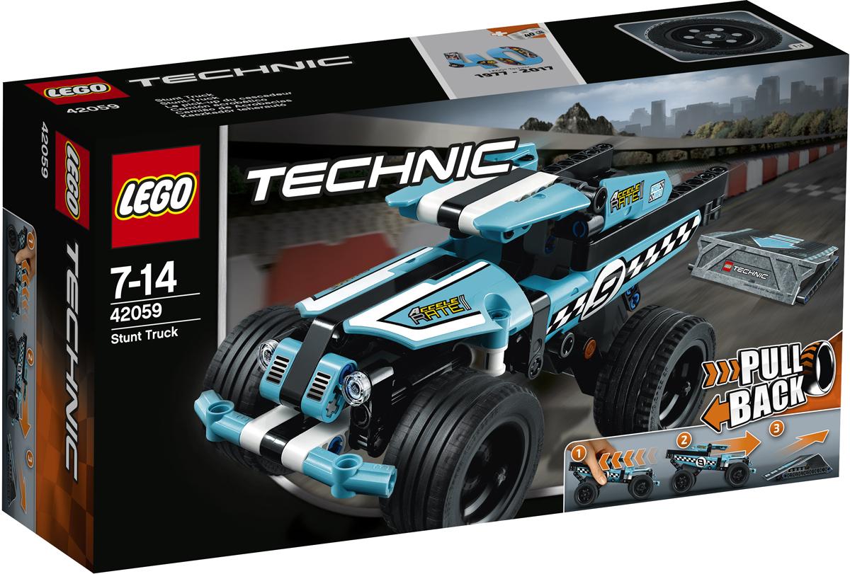 LEGO Technic Конструктор Трюковой грузовик 4205942059Заводи надёжный трюковой грузовик LEGO Technic, выполненный в новой чёрно-бело-голубой цветовой гамме с клетчатыми гоночными наклейками и оснащённый прочным передним бампером, широкими голубыми дисками и низкопрофильными шинами для исключительного сцепления с дорогой. Заведи мощный мотор и гоняй по каскадёрской рампе на невероятной скорости, чтобы выполнять удивительные трюки!