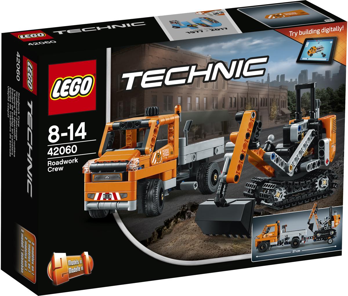 LEGO Technic Конструктор Дорожная техника 4206042060С лёгкостью делай тяжёлую работу, используя мощную технику бригады для дорожных работ LEGO Technic 2-в-1. Набор включает в себя грузовик с передвижным трейлером, а также солидный гусеничный экскаватор в классической чёрно-серо-оранжевой цветовой гамме. Подведи трактор к нужному месту и, работая поворотной частью, вращающейся на 360°, со стрелой и ковшом, складывай грузы на платформу. Перестрой этот набор и создай мини-машину для разбрасывания песка с плугом. Интерактивное интернет-приложение с цифровыми 3D-инструкциями по сборке LEGO для обеих моделей доступно онлайн!