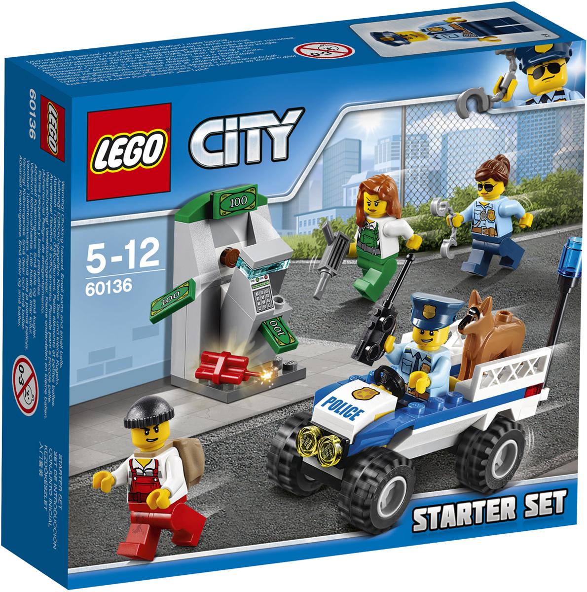 LEGO City Конструктор Полиция Стартовый набор 6013660136Используйте полицейскую рацию и вызовите группу поддержки! Воры только что с помощью динамита взорвали стену, к которой крепился банкомат, и теперь пытаются взломать его отбойным молотком! Прыгайте за руль полицейского квадроцикла и мчитесь на место преступления с полицейской собакой, которая поможет полицейским арестовать воришек. Работать в полиции LEGO City всегда интересно! Набор включает в себя 80 разноцветных пластиковых элементов. Конструктор - это один из самых увлекательных и веселых способов времяпрепровождения. Ребенок сможет часами играть с конструктором, придумывая различные ситуации и истории.