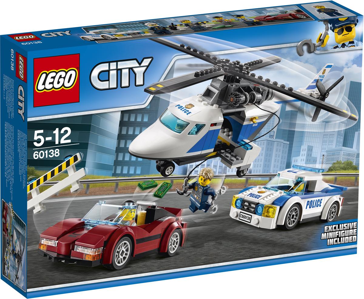 LEGO City Конструктор Стремительная погоня 6013860138Боевая тревога! Воришка украл деньги и золото и бежит из города на украденной спортивной машине. Прыгайте за руль полицейской машины и догоните его! Он уходит слишком быстро. Вызывайте полицейский вертолет. Опустите Чейза Маккейна вниз с помощью лебедки и помогите ему произвести арест. Сегодня такой насыщенный рабочий день в полиции LEGO City! Набор включает в себя 294 разноцветных пластиковых элемента. Конструктор - это один из самых увлекательных и веселых способов времяпрепровождения. Ребенок сможет часами играть с конструктором, придумывая различные ситуации и истории.