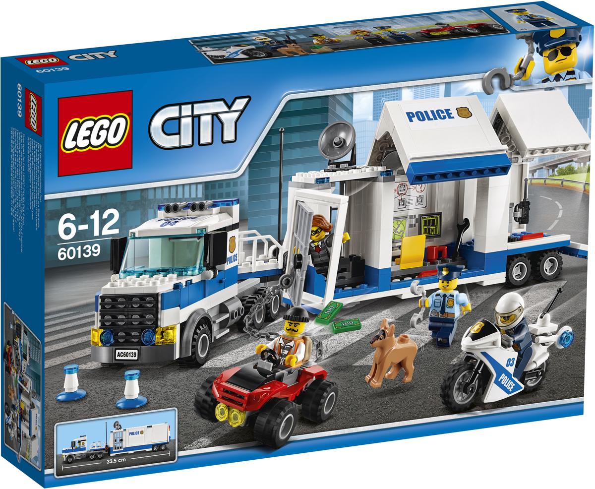 LEGO City Конструктор Мобильный командный центр 6013960139Остановите грузовик и выпустите полицейскую собаку! Сообщник помогает воришке бежать из передвижной тюрьмы. Прикрепите крюк с цепью от вездехода к дверям тюрьмы и жмите на газ, чтобы выломать дверь. Спустите вниз задний пандус Мобильного командного центра и выгрузите полицейский мотоцикл, а потом догоните воришек и верните их в тюрьму! Набор включает в себя 374 разноцветных пластиковых элемента. Конструктор - это один из самых увлекательных и веселых способов времяпрепровождения. Ребенок сможет часами играть с конструктором, придумывая различные ситуации и истории.