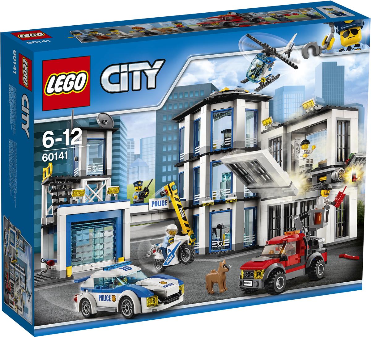 LEGO City Конструктор Полицейский участок 6014160141Поднимайте полицейских по тревоге! Воры пытаются помочь своему дружку сбежать из тюрьмы, но они застали его врасплох, в туалете! Вытяните автоподъемник и положите динамит в вентиляционное отверстие, а потом бегите, пока оно не взорвалось. Держите лом наготове, чтобы воришка мог за него схватиться, и все вместе выбирайтесь оттуда! Помогите полиции на автомобиле, мотоцикле и вертолете догнать грузовик воришек и вернуть их обратно в тюрьму! Набор включает в себя 894 разноцветных пластиковых элементов. Конструктор - это один из самых увлекательных и веселых способов времяпрепровождения. Ребенок сможет часами играть с конструктором, придумывая различные ситуации и истории.