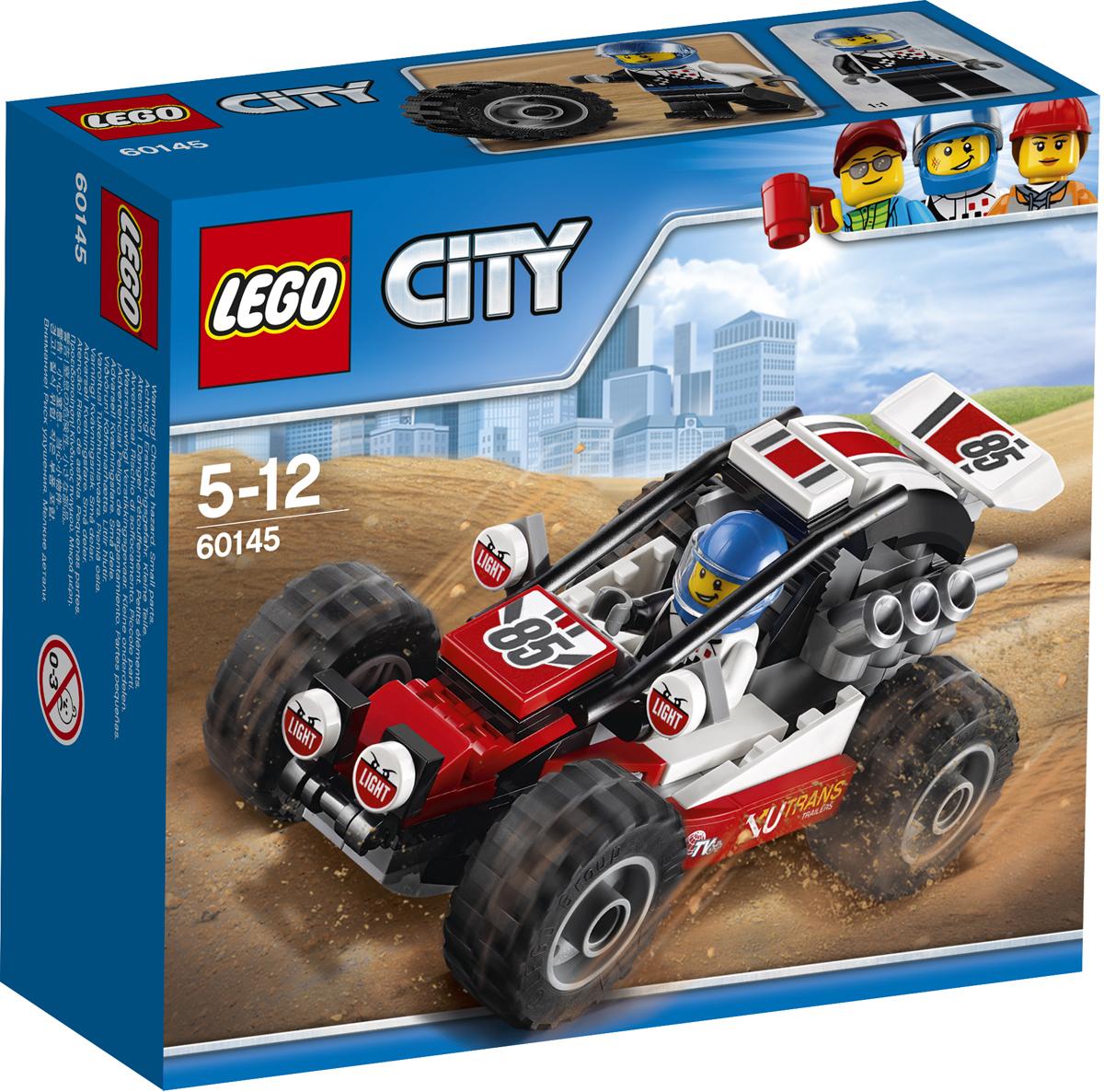 LEGO City Конструктор Багги 6014560145Прыгайте на сиденье этого классного багги и готовьтесь выиграть гонку! Проверьте, надежны ли шины и мотор, потом наденьте шлем, закройте клетку безопасности и вперед! Набор включает в себя 81 разноцветный пластиковый элемент. Конструктор - это один из самых увлекательных и веселых способов времяпрепровождения. Ребенок сможет часами играть с конструктором, придумывая различные ситуации и истории.