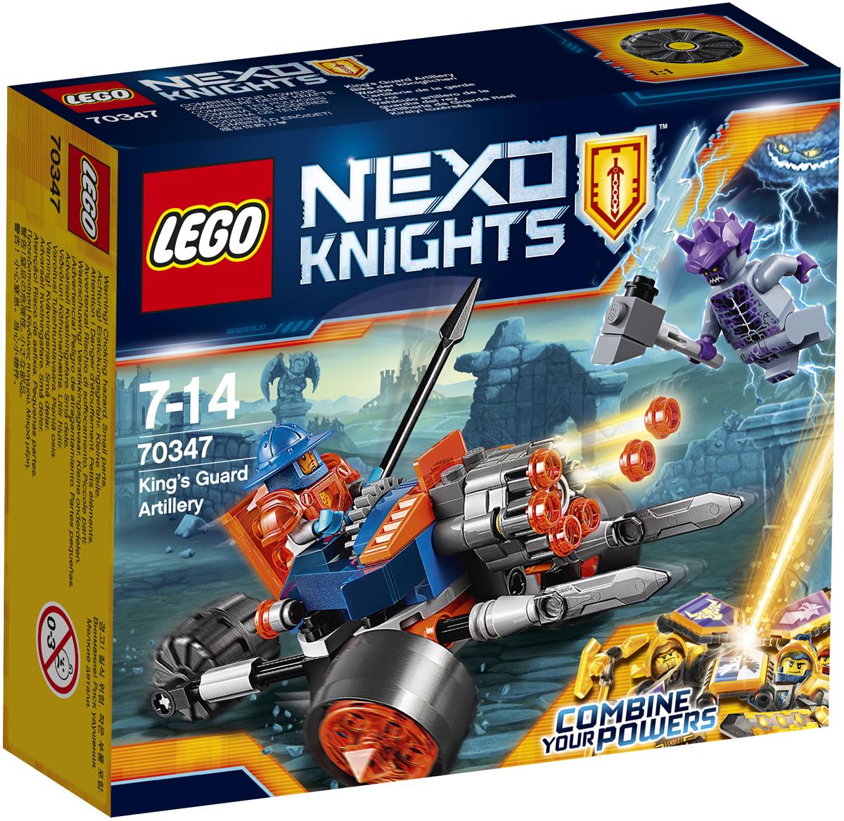 LEGO NEXO KNIGHTS Конструктор Самоходная артиллерийская установка королевской гвардии 7034770347Приготовьте самоходную артиллерийскую установку королевской гвардии, нацельтесь и будьте готовы стрелять из потрясающей шестиствольной пушки в наступающего каменного солдата. Выставите мечи для защиты или отсоедините их для ближнего боя! Набор включает в себя 98 разноцветных элемента и две минифигурки. Конструктор - это один из самых увлекательных и веселых способов времяпрепровождения. Ребенок сможет часами играть с конструктором, придумывая различные ситуации и истории.