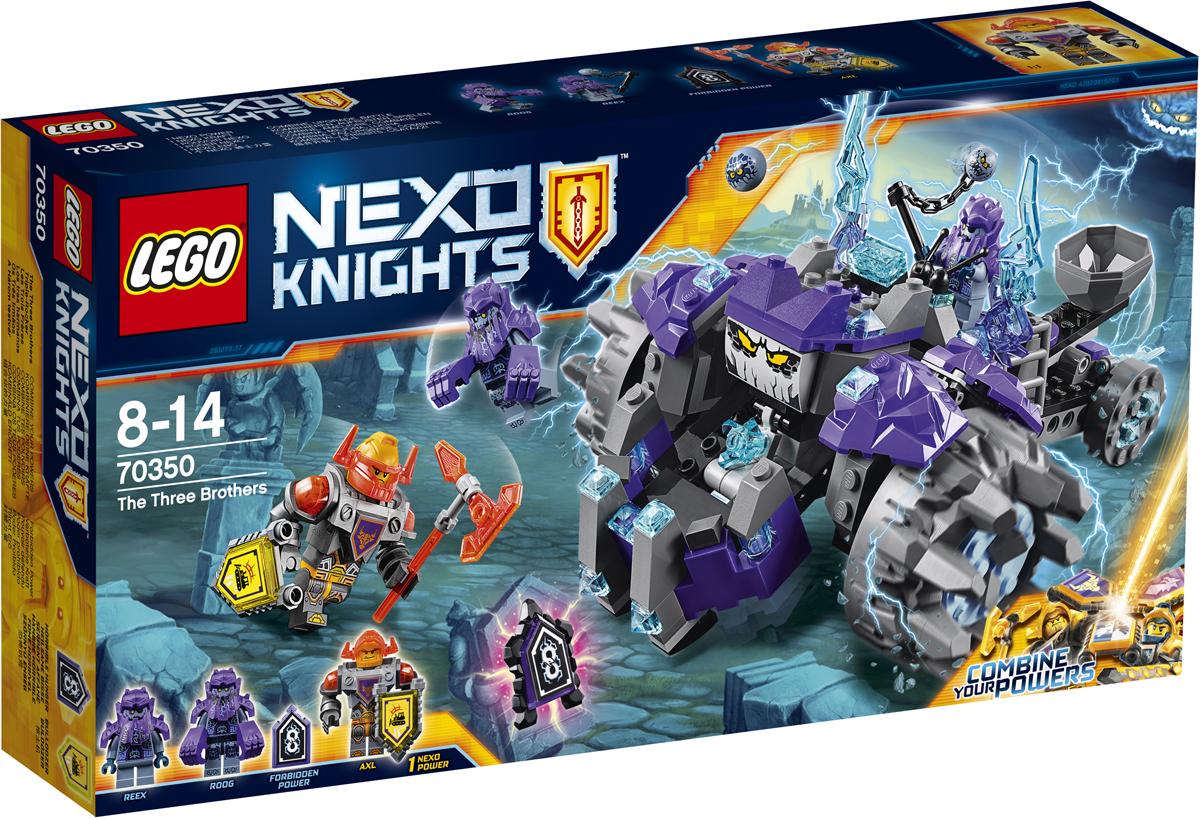 LEGO NEXO KNIGHTS Конструктор Три брата 7035070350Отправляйтесь в горы и остановите древних монстров, которых пробудил к жизни злобный Монстрокс. Деритесь лицом к лицу с крутящимся монстром, то и дело клацающим своими жуткими челюстями, а потом берите боевой топор и отправляйтесь сражаться с Ругом и Риксом. Но берегитесь летающих каменных монстров — гравильеров! Набор включает в себя 266 разноцветных элементов, 3 минифигурки, 2 щита для сканирования. Конструктор - это один из самых увлекательных и веселых способов времяпрепровождения. Ребенок сможет часами играть с конструктором, придумывая различные ситуации и истории.