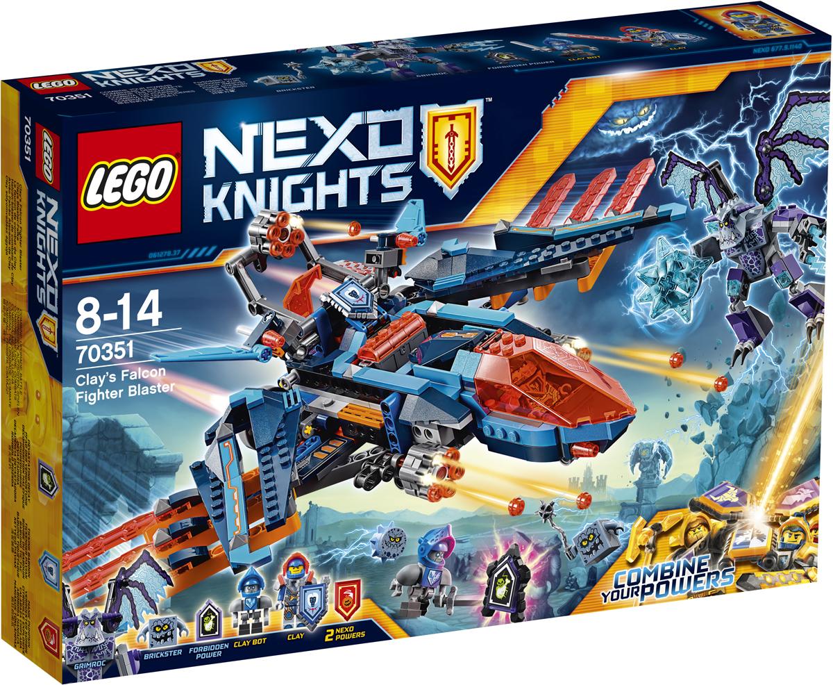 LEGO NEXO KNIGHTS Конструктор Самолет-истребитель Сокол Клэя 7035170351Защитите Найтон от Гримрока и его гигантской булавы с помощью самолета-истребителя Клэя! Расправьте крылья и стреляйте из шестиствольных пушек, а потом отправьте в небо бота Клэя для дополнительной поддержки с воздуха. В набор входят три щита для сканирования NEXO-Сил Обезьяна с гранатой и Веселая тыква, а также запретной силы Опустошение. Набор включает в себя 523 разноцветных пластиковых элемента. Конструктор - это один из самых увлекательных и веселых способов времяпрепровождения. Ребенок сможет часами играть с конструктором, придумывая различные ситуации и истории.