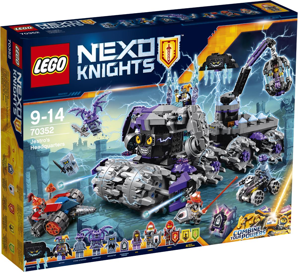 LEGO NEXO KNIGHTS Конструктор Штаб Джестро 7035270352Атакуйте штурмовой разрушитель Джестро на подрывной машине Мэйси и сразитесь с летающей шляпой «Гататтака» Джестро и каменными машинами! Объедините героев LEGO NEXO KNIGHTS™ и комбинируйте их NEXO-Силы, чтобы не позволить Джестро заполучить запретные силы, и спасите Эву из висячей клетки! Набор включает в себя 840 разноцветных элементов и 5 щитов для сканирования, дающих 4 NEXO-Силы: «Удар ниндзя», «Заклинатель», «Сила музыки» и «Бурные аплодисменты», а также запретная сила «Раскол земной поверхности». Конструктор - это один из самых увлекательных и веселых способов времяпрепровождения. Ребенок сможет часами играть с конструктором, придумывая различные ситуации и истории.