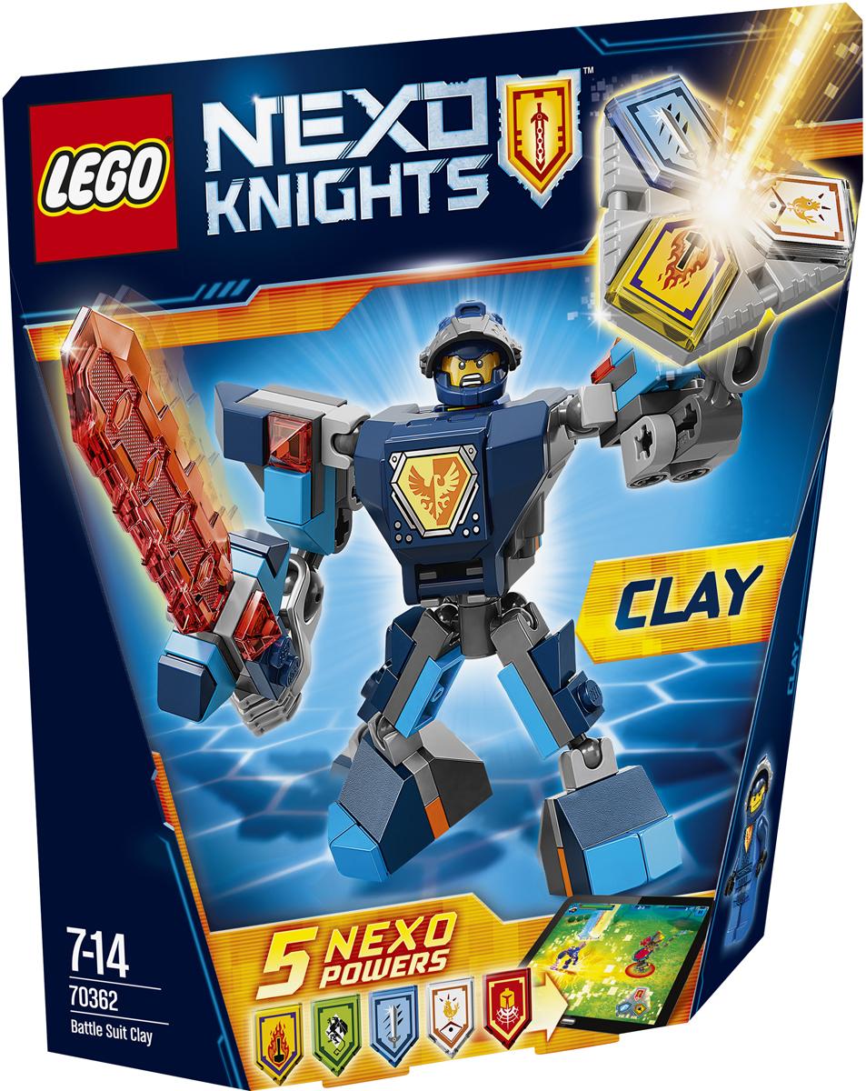LEGO NEXO KNIGHTS Конструктор Боевые доспехи Клэя 7036270362Сразите своих врагов взмахами огромного меча, облачившись в полные боевые доспехи. А потом сами придумайте, как вам в одиночку победить Монстрокса и каменных монстров с помощью трех любых NEXO-Сил, которые вы объедините в уникальную комбинацию. Отсканируйте их при помощи бесплатного приложения LEGO NEXO KNIGHTS: MERLOK 2.0. Выберите одну из пяти NEXO-Сил: Титановый меч, Механический грифон, Командный голос, Огненная катастрофа и Сила птицы. Герои NEXO KNIGHTS могут контролировать собственную комбинацию NEXO-Сил только в полном боевом облачении! Набор включает в себя 79 разноцветных пластиковых элементов. Конструктор станет замечательным сюрпризом вашему ребенку, который будет способствовать развитию мелкой моторики рук, внимательности, усидчивости и мышления. Играя с конструктором, ребенок научится собирать детали по образцу, проводить время с пользой и удовольствием.