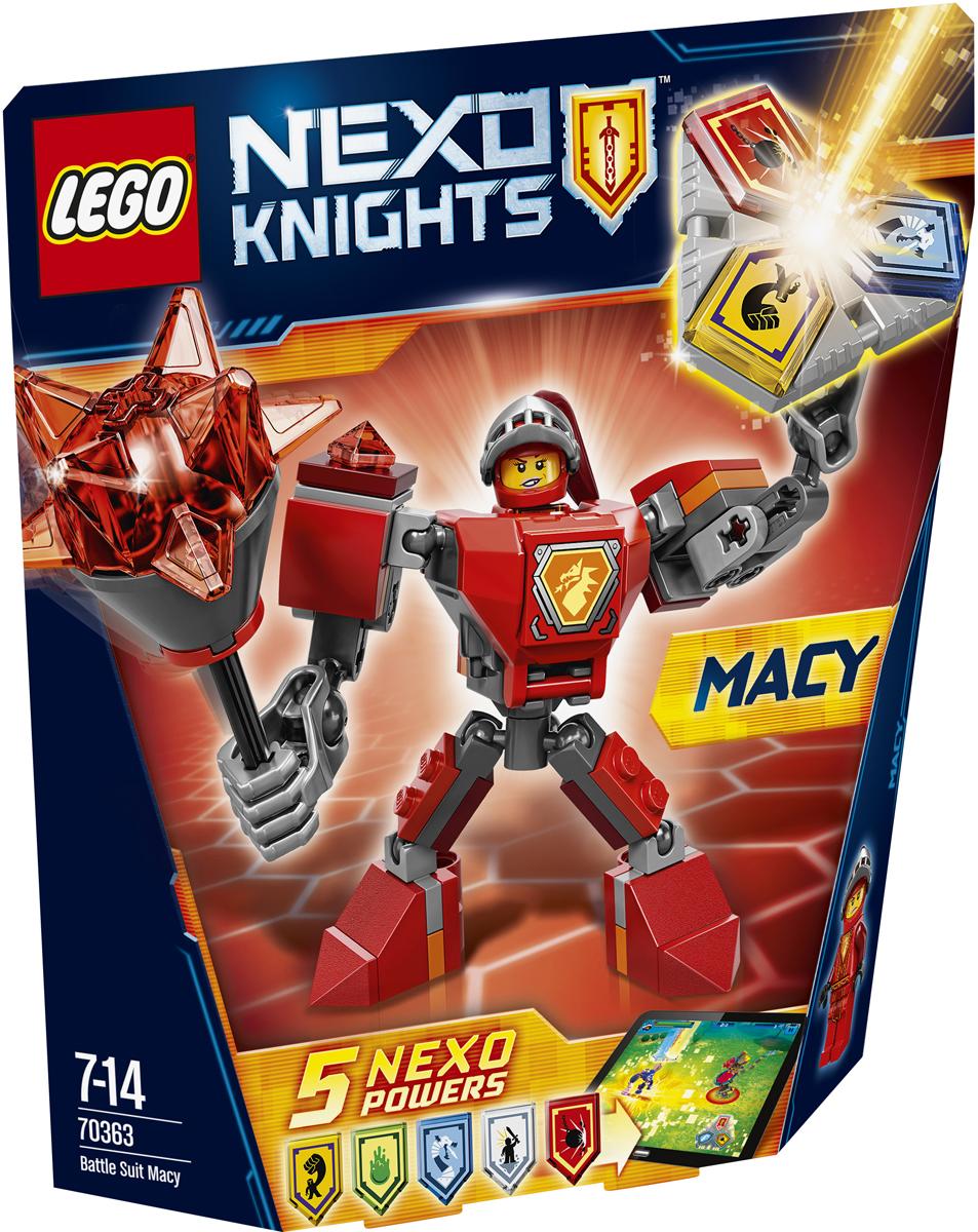 LEGO NEXO KNIGHTS Конструктор Боевые доспехи Мэйси 7036370363Облачайтесь в полные боевые доспехи, чтобы победить в бою. Отправьте Мэйси, вооруженную гигантской булавой сражаться с врагом. А потом сами придумайте, как вам в одиночку победить Монстрокса и каменных монстров с помощью трех любых NEXO-Сил, которые вы объедините в уникальную комбинацию. Отсканируйте их при помощи бесплатного приложения LEGO NEXO KNIGHTS: MERLOK 2.0. Выберите одну из пяти NEXO-Сил: Шаровой таран, Железный дракон, Боевой клич, Взрыв слизи и Мощный удар. Герои NEXO KNIGHTS могут контролировать собственную комбинацию NEXO-Сил и спасти Найтон только в полном боевом облачении! Набор включает в себя 66 разноцветных пластиковых элементов. Конструктор - это один из самых увлекательных и веселых способов времяпрепровождения. Ребенок сможет часами играть с конструктором, придумывая различные ситуации и истории.