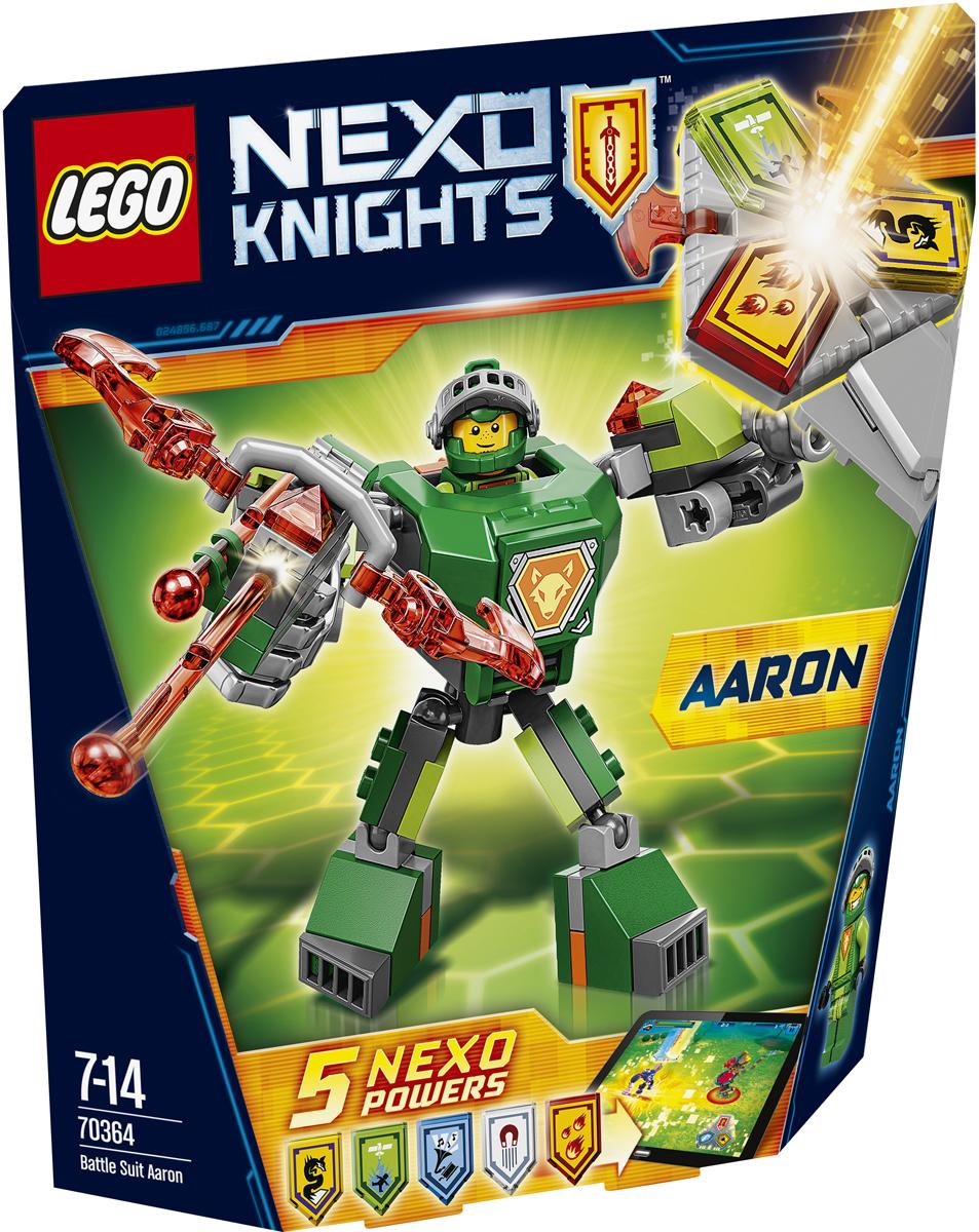 LEGO NEXO KNIGHTS Конструктор Боевые доспехи Аарона 7036470364Помогите Аарону стать сильнее, надев на него удивительные боевые доспехи, и устройте взрыв с помощью Сверкающего арбалета! А потом сами придумайте, как вам в одиночку победить Монстрокса и каменных монстров с помощью трех любых NEXO-Сил, которые вы объедините в уникальную комбинацию. Отсканируйте их при помощи бесплатного приложения LEGO NEXO KNIGHTS: MERLOK 2.0. Выберите одну из пяти NEXO-Сил: Удар с небес, Дух лисицы, Держи ритм, Сжигание и Намагничивание. Герои NEXO KNIGHTS могут контролировать собственную комбинацию NEXO-Сил только в полном боевом облачении! Набор включает в себя 80 разноцветных пластиковых элементов. Конструктор станет замечательным сюрпризом вашему ребенку, который будет способствовать развитию мелкой моторики рук, внимательности, усидчивости и мышления. Играя с конструктором, ребенок научится собирать детали по образцу, проводить время с пользой и удовольствием.