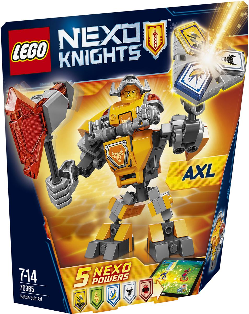 LEGO NEXO KNIGHTS Конструктор Боевые доспехи Акселя 7036570365Наденьте на Акселя высокотехнологичные боевые доспехи и превратите его в мощнейшую машину для сражений. Сделайте его удары огромным топором еще более мощными. А потом сами придумайте, как вам в одиночку победить Монстрокса и каменных монстров с помощью трех любых NEXO-Сил, которые вы объедините в уникальную комбинацию. Отсканируйте их при помощи бесплатного приложения LEGO NEXO KNIGHTS: MERLOK 2.0. Выберите одну из пяти NEXO-Сил: Золотой топор, Стальной минотавр, Сила музыки, Электрическая атака и Банановые бомбы. Герои NEXO KNIGHTS могут контролировать собственную комбинацию NEXO-Сил только в полном боевом облачении! Набор включает в себя 88 разноцветных пластиковых элементов. Конструктор станет замечательным сюрпризом вашему ребенку, который будет способствовать развитию мелкой моторики рук, внимательности, усидчивости и мышления. Играя с конструктором, ребенок научится собирать детали по образцу, проводить время с пользой и удовольствием.