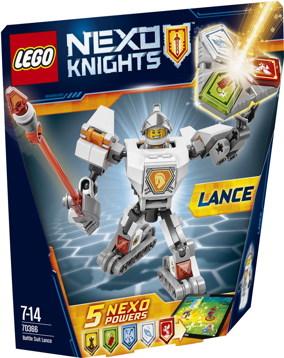 LEGO NEXO KNIGHTS Конструктор Боевые доспехи Ланса 7036670366Подарите Лансу преимущество: пусть он крушит врагов в специальных боевых доспехах, оснащенных супербыстрыми колесами, и работает своим гигантским копьем. А потом сами придумайте, как вам в одиночку победить Монстрокса и каменных монстров с помощью трех любых NEXO-Сил, которые вы объедините в уникальную комбинацию. Отсканируйте их при помощи бесплатного приложения LEGO NEXO KNIGHTS: MERLOK 2.0. Выберите одну из пяти NEXO-Сил: Алмазное копье, Серебряный пегас, Бурные аплодисменты, Вихрь и Мощь динамита. Герои NEXO KNIGHTS могут контролировать собственную комбинацию NEXO-Сил только в полном боевом облачении! Набор включает в себя 83 разноцветных пластиковых элемента. Конструктор - это один из самых увлекательных и веселых способов времяпрепровождения. Ребенок сможет часами играть с конструктором, придумывая различные ситуации и истории.