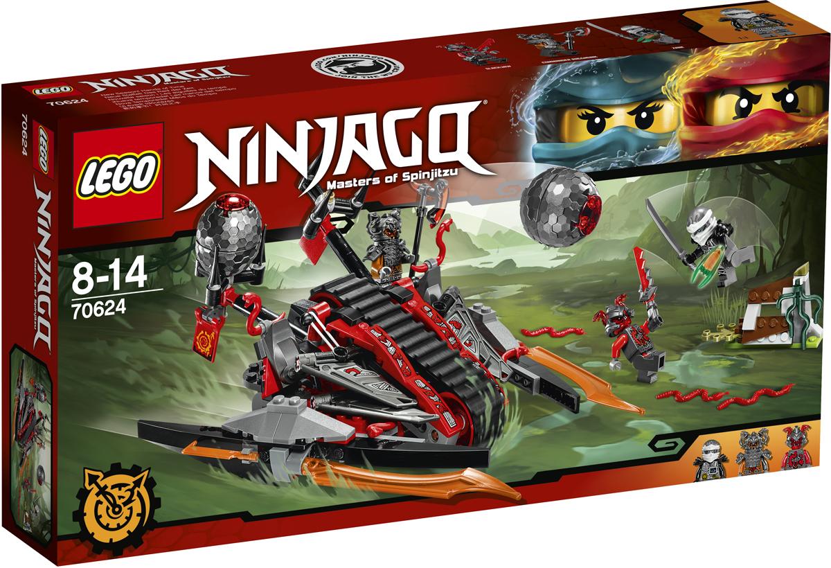 LEGO NINJAGO Конструктор Алый захватчик 7062470624Отправляйся вместе с Зейном на болота, но будь начеку: командир Раггмунк и Слэкджо патрулируют территорию на «Алом захватчике». Уклоняйся от гигантских яиц, которыми стреляет двойная катапульта танка. Подумай, стоит ли прятаться за ограждением — оно может сбить тебя с ног в любой момент. Следи, чтобы Клинок, останавливающий время, не попал в руки врага.