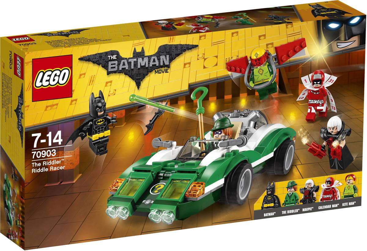 LEGO Batman Movie Конструктор Гоночный автомобиль Загадочника 7090370903Загадочник, Кайтмен, Сорока и Человек-календарь сеют хаос и разрушения на электростанции Готем-сити. Объедини силы с Бэтменом и останови их. Но берегись шутеров с пружинным механизмом, установленных на гоночном автомобиле Загадочника. Еще тебе предстоит уворачиваться от динамитных шашек, которые бросает Сорока. Уклоняйся от атак Кайтмена, который нападает с воздуха. Используй бэтаранг Бэтмена, чтобы захватить суперзлодеев в плен.
