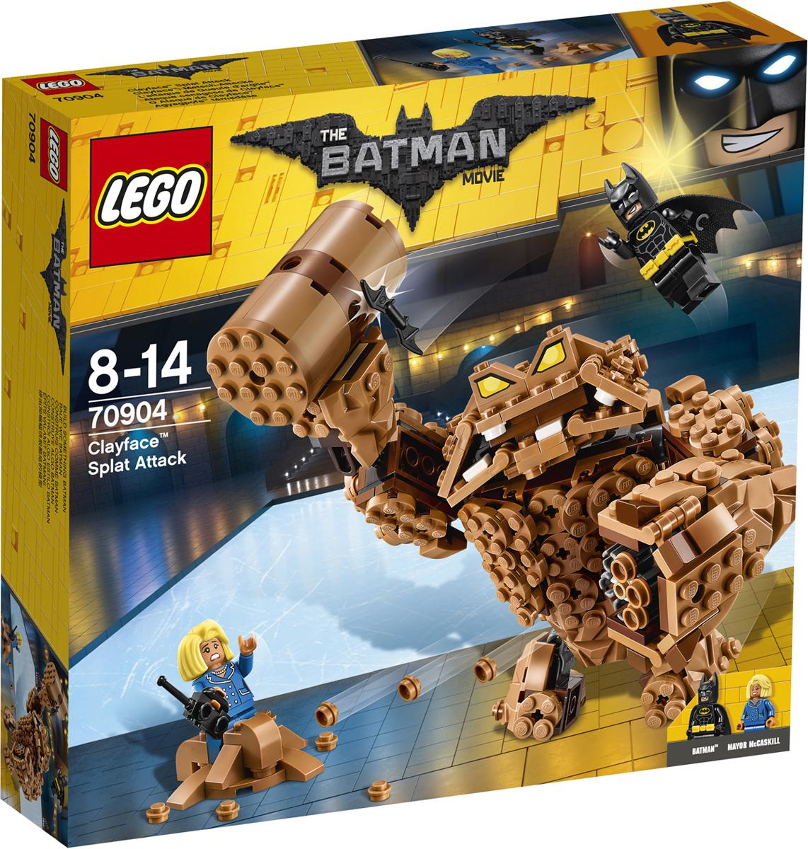 LEGO Batman Movie Конструктор Атака Глиноликого 7090470904Глиноликий ворвался на вечеринку по случаю ухода на пенсию комиссара Гордона и стреляет глиной направо и налево. Вместе с Бэтменом спеши на место преступления и встреться с суперзлодеем лицом к лицу. Но будь осторожен: Глиноликий вооружен шестизарядным скорострельным шипометом и молотом из глины. Уклоняйся от ударов молота и глиняных снарядов и дерись с помощью бэтаранга. Освободи мэра Мак-Каскила из глиняного плена и доставь ее в безопасное место.